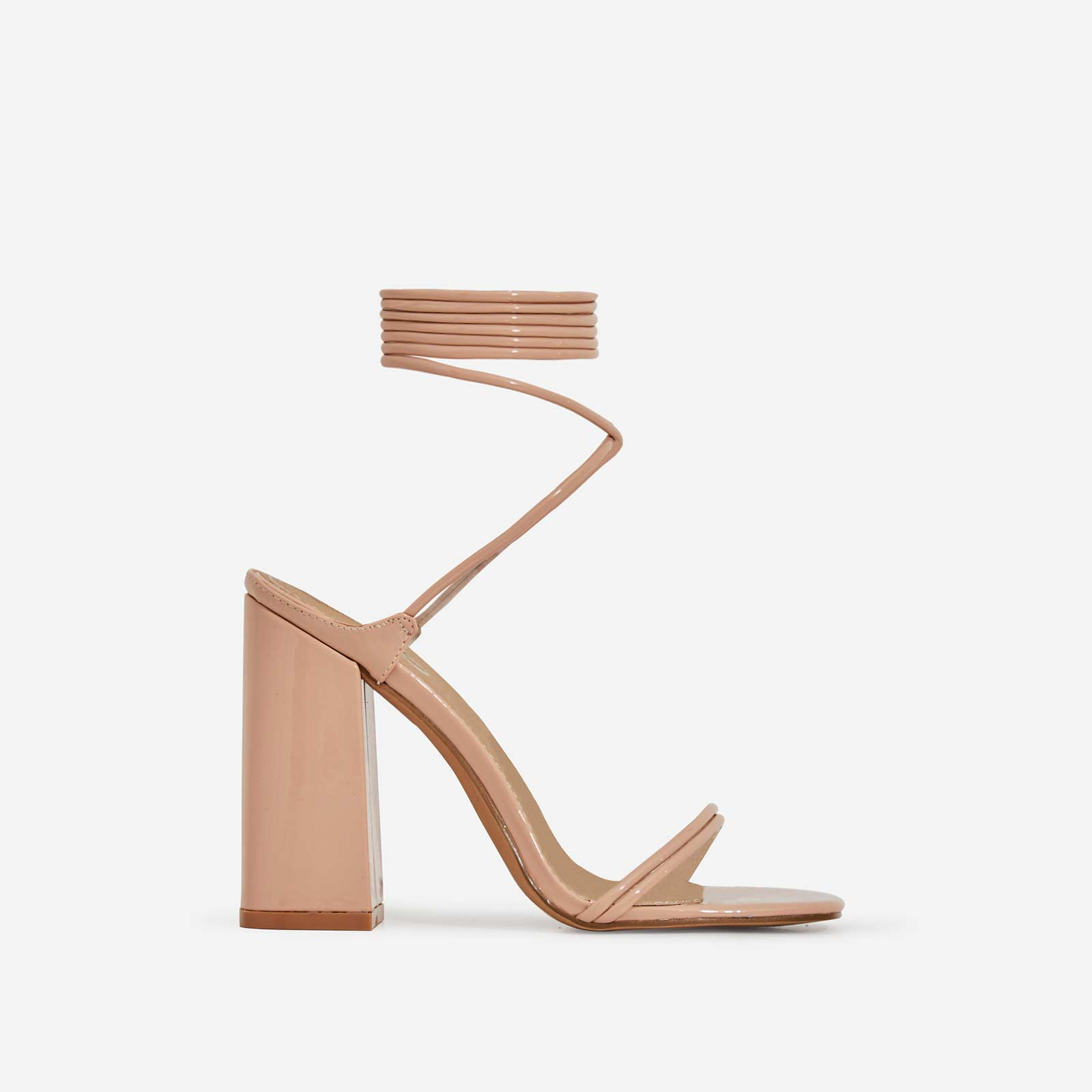Leigh Lace Up Square Toe Block Heel In Nude Patent
