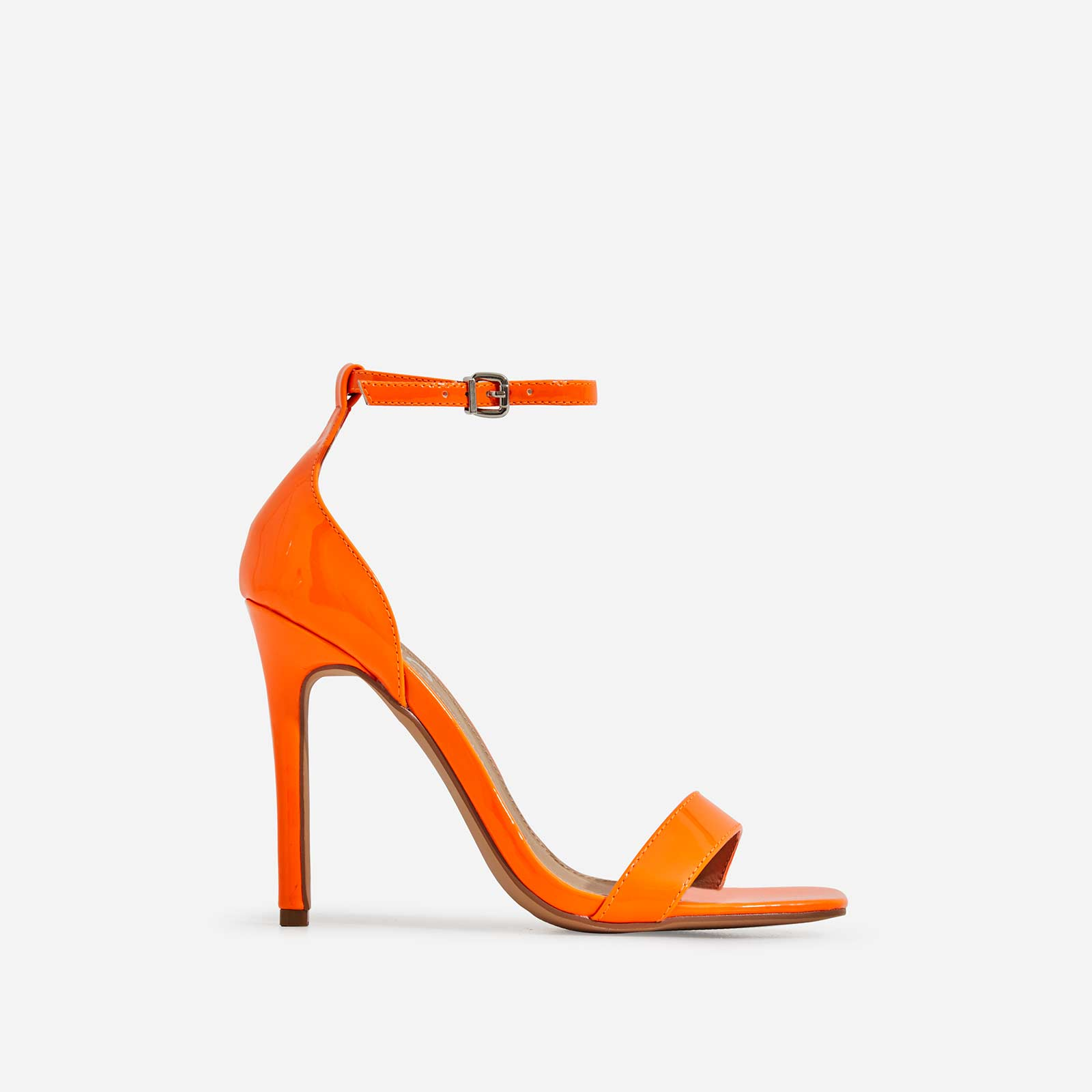 Court Barely There Square Toe Heel In Neon Orange Patent