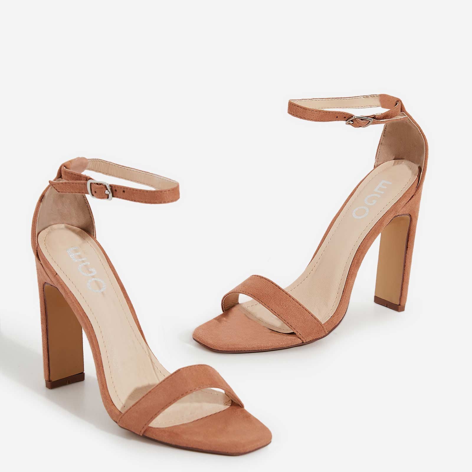 771ab95975c Crown Barely There Thin Block Heel In Nude Faux Suede | EGO