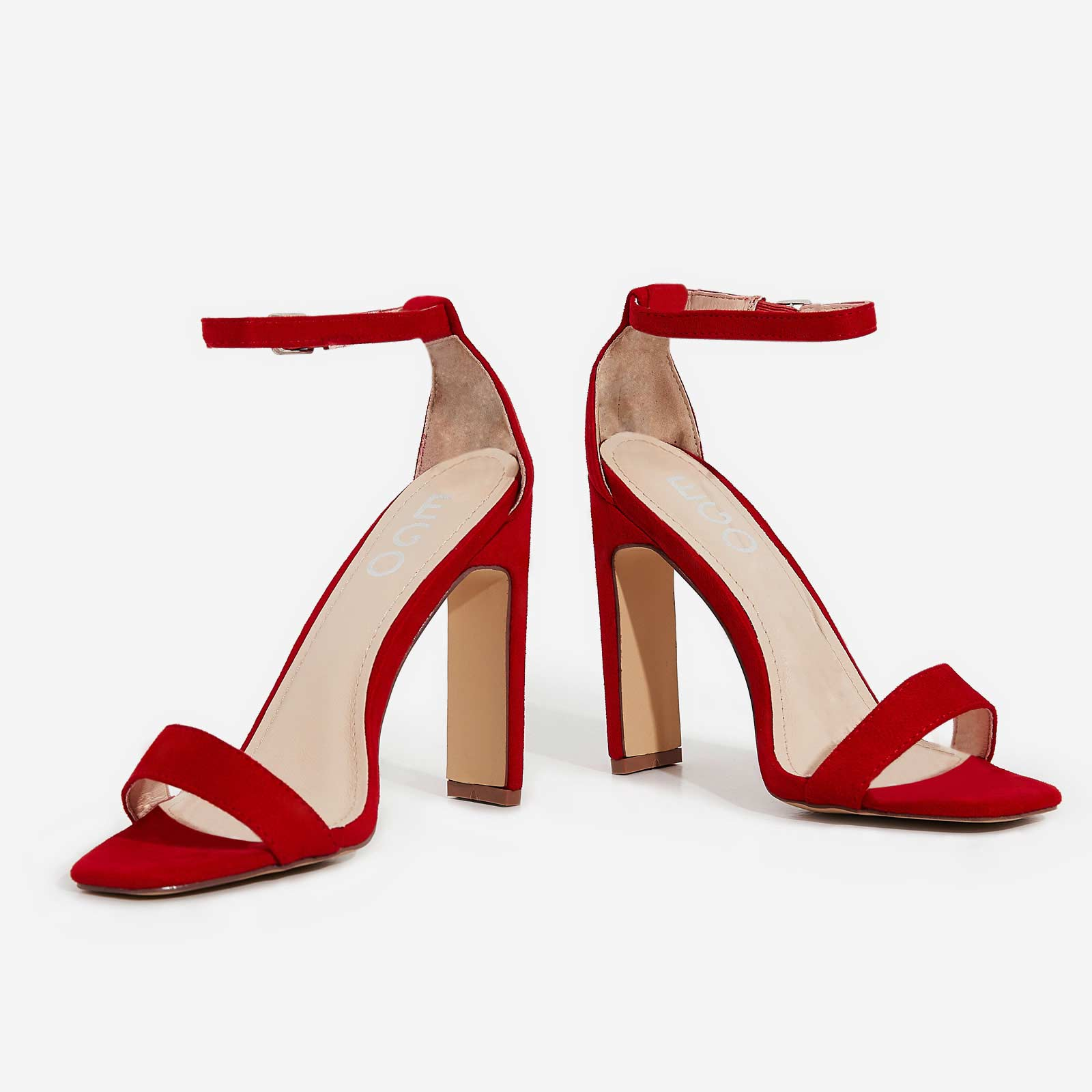 c86a40e36ea Crown Barely There Thin Block Heel In Red Faux Suede | EGO