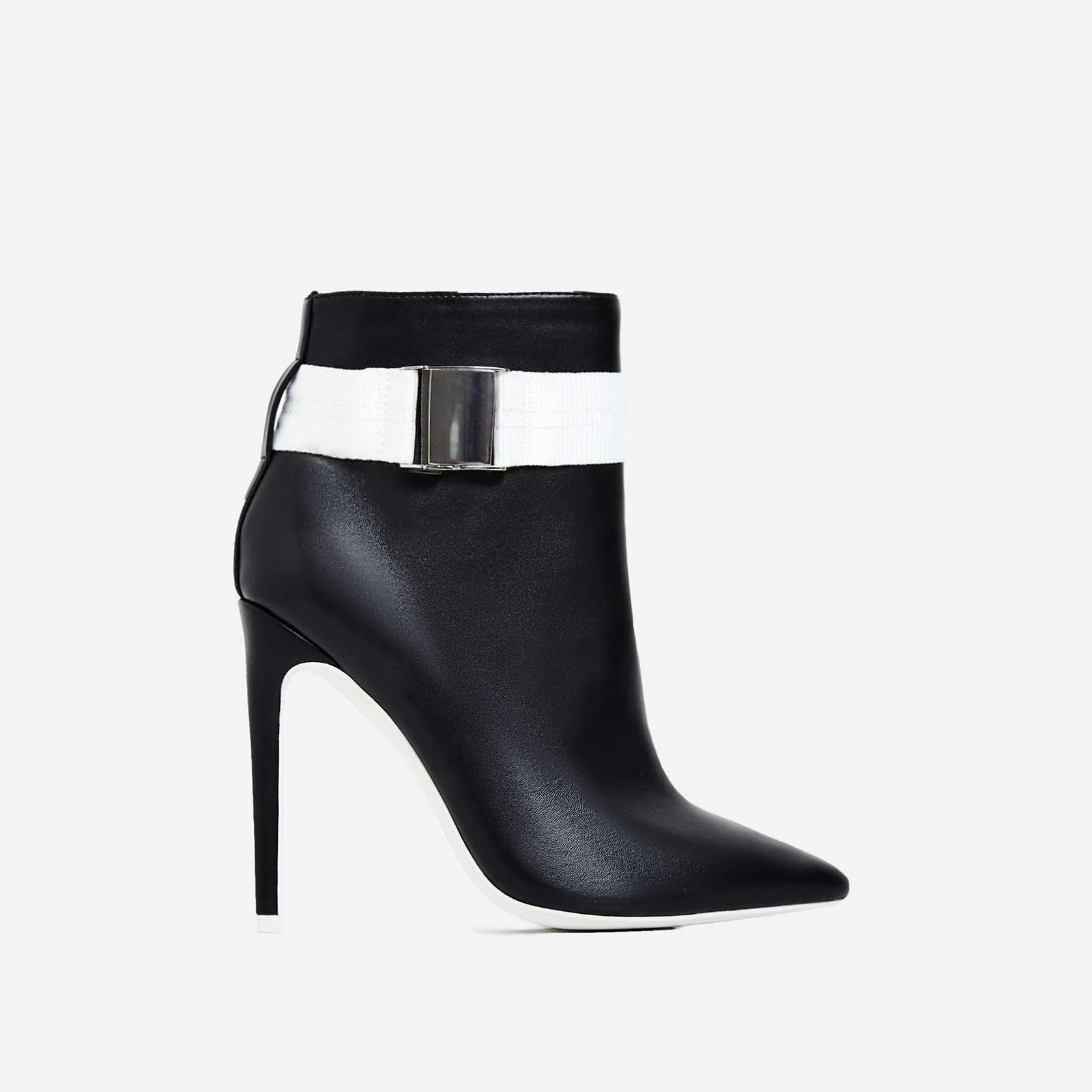 Crush White Grosgrain Strap Ankle Boot In Black Faux Leather