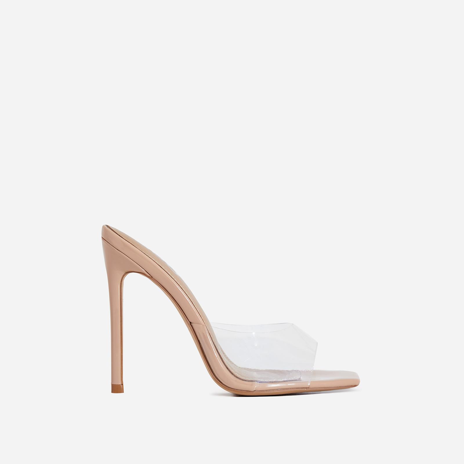 982a49097803 Cyan Square Toe Perspex Peep Toe Mule In Nude Patent