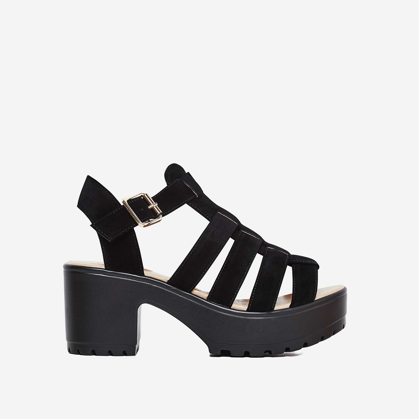 Kerr Platform Sandal In Black Faux Suede