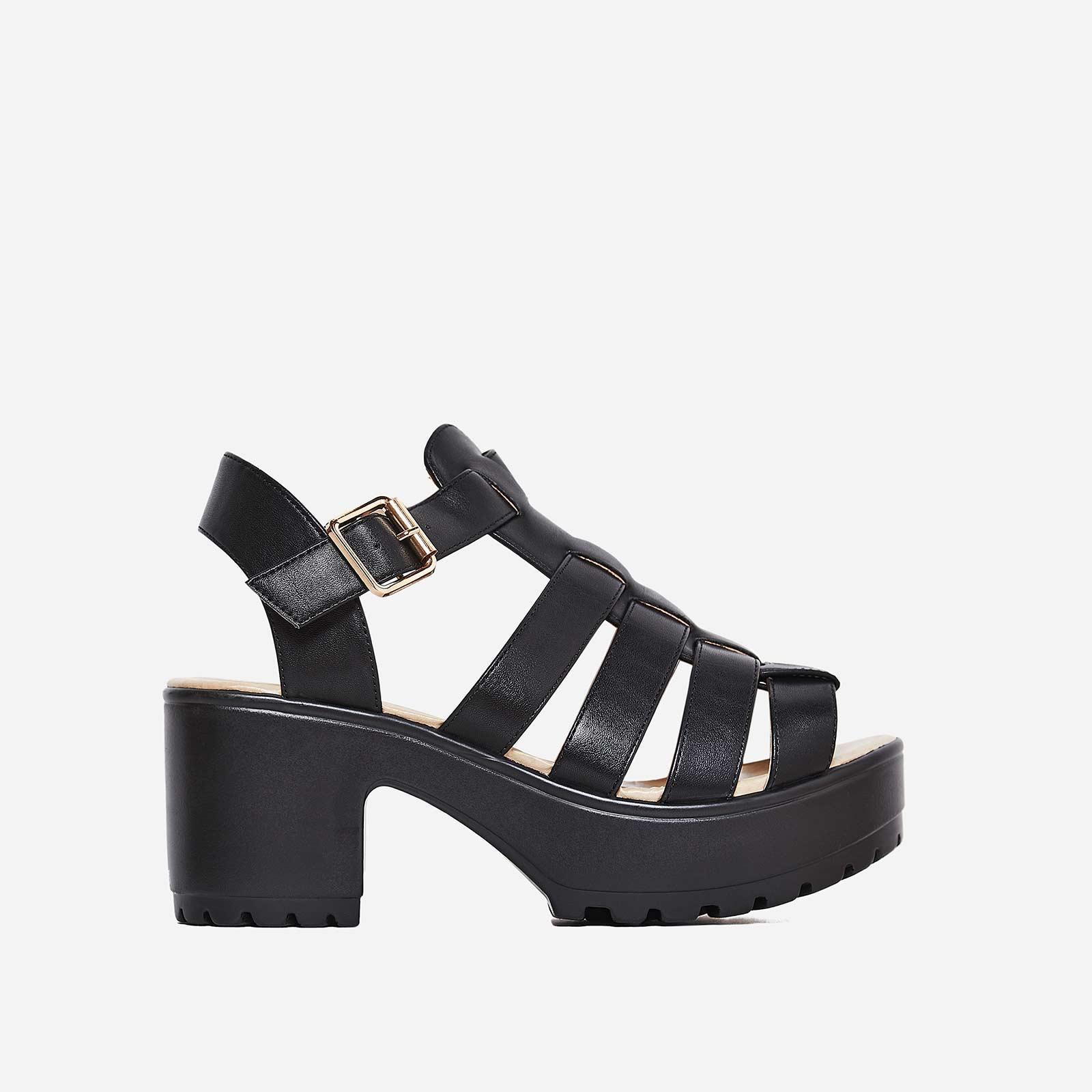 Kerr Platform Sandal In Black Faux Leather
