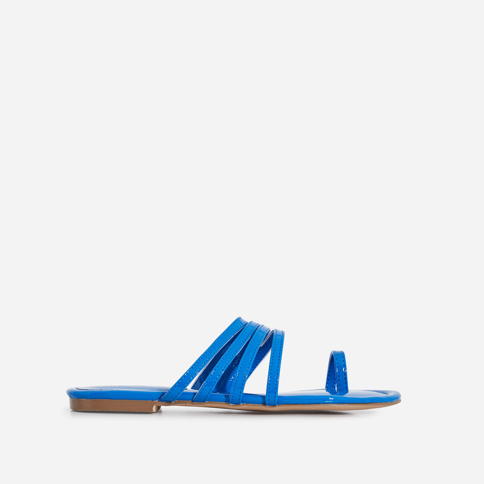 Dax Toe Strap Flat Sandal In Blue Patent