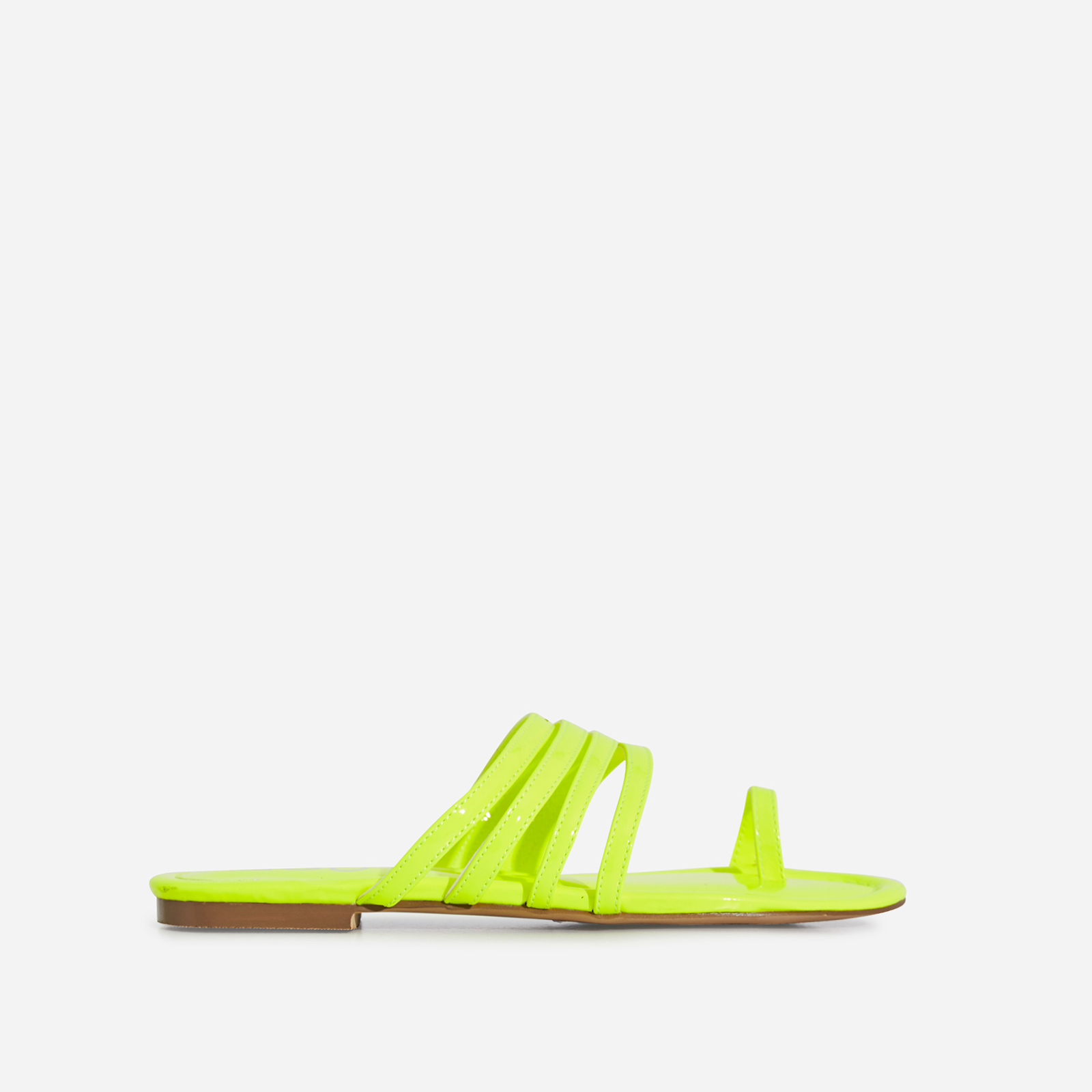 Dax Toe Strap Flat Sandal In Lime Green Patent