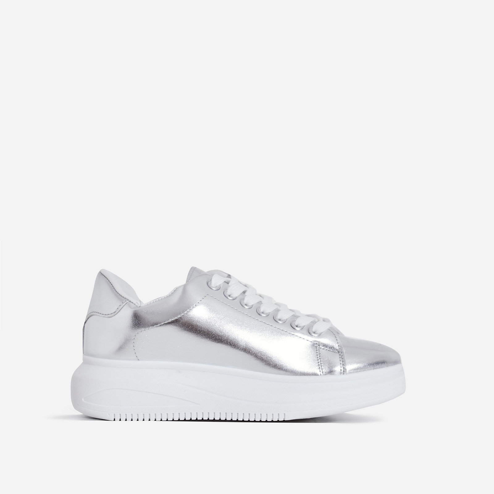 Oracle Chunky Sole Sneaker In Silver Faux Leather