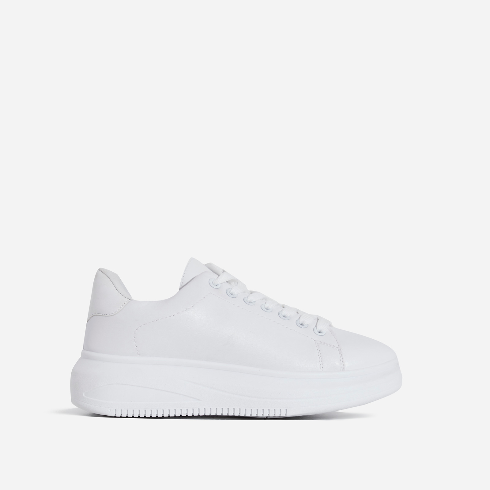 Oracle Chunky Sole Sneaker In White Faux Leather