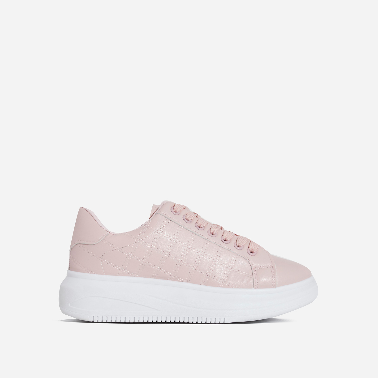 Avi Stitch Detail Chunky Sole Sneaker In Pink Faux Leather