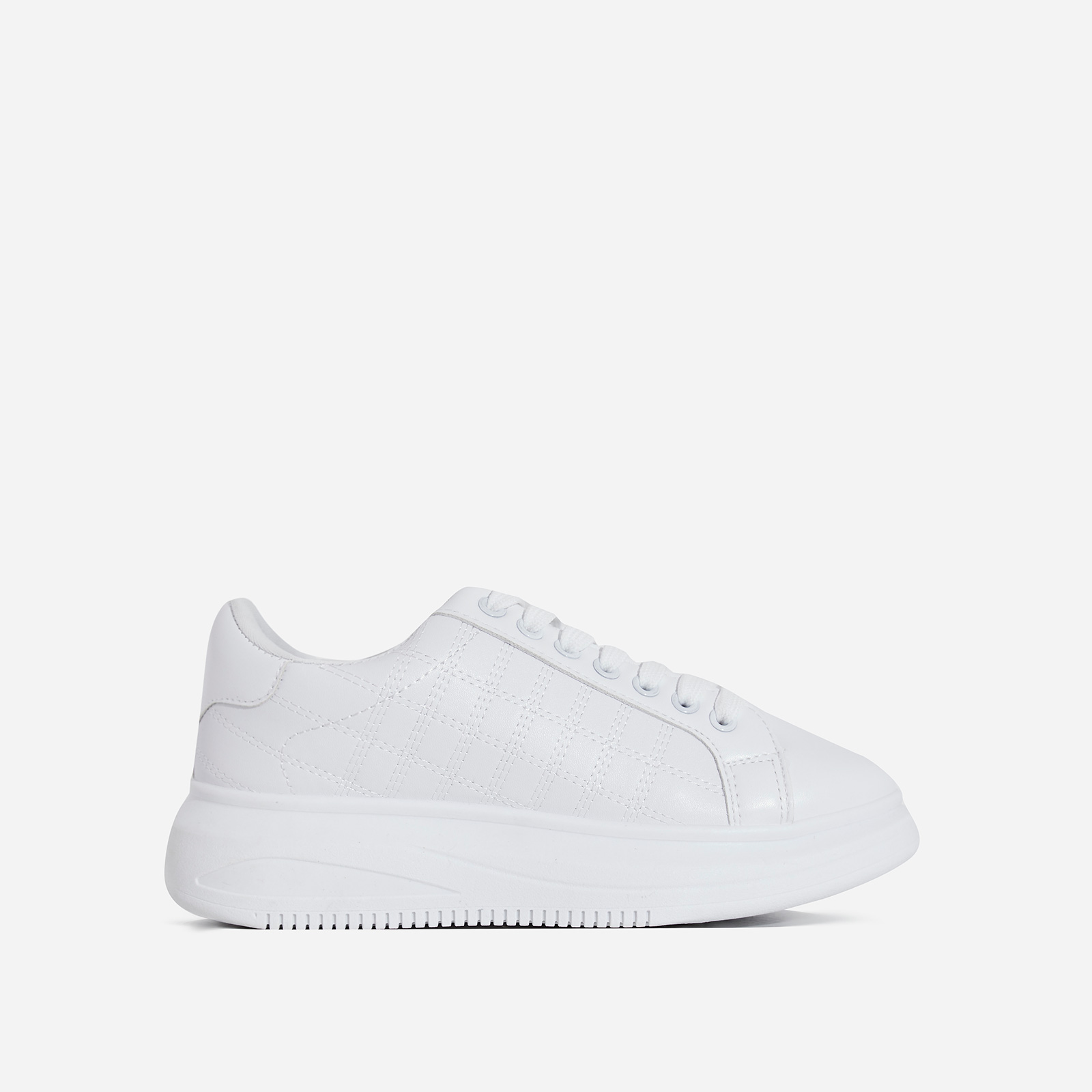 Avi Stitch Detail Chunky Sole Sneaker In White Faux Leather