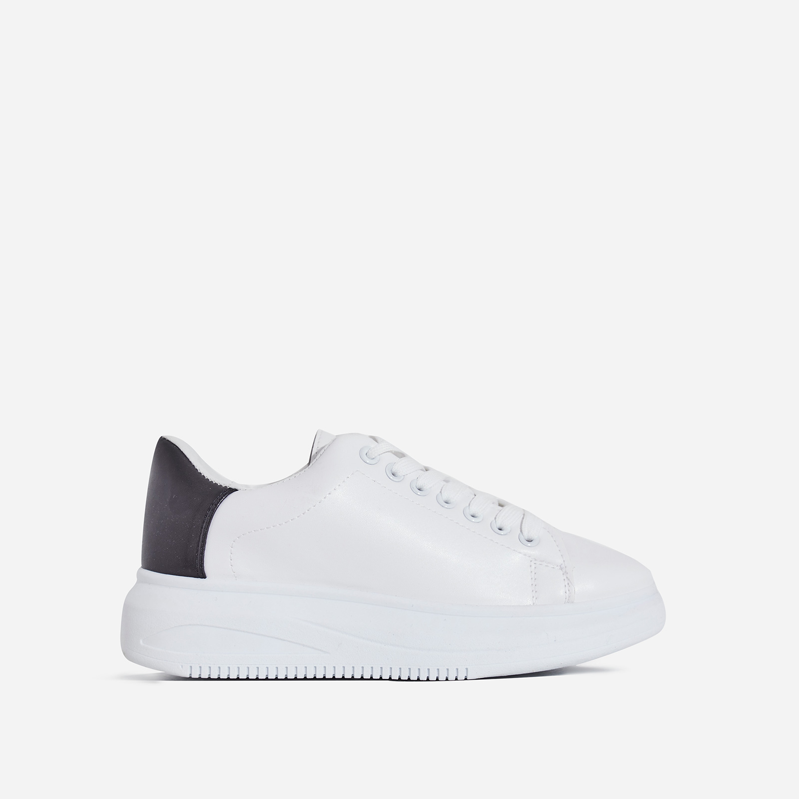 Neo Chunky Sole Black Heel Tab Trainer In White Faux Leather