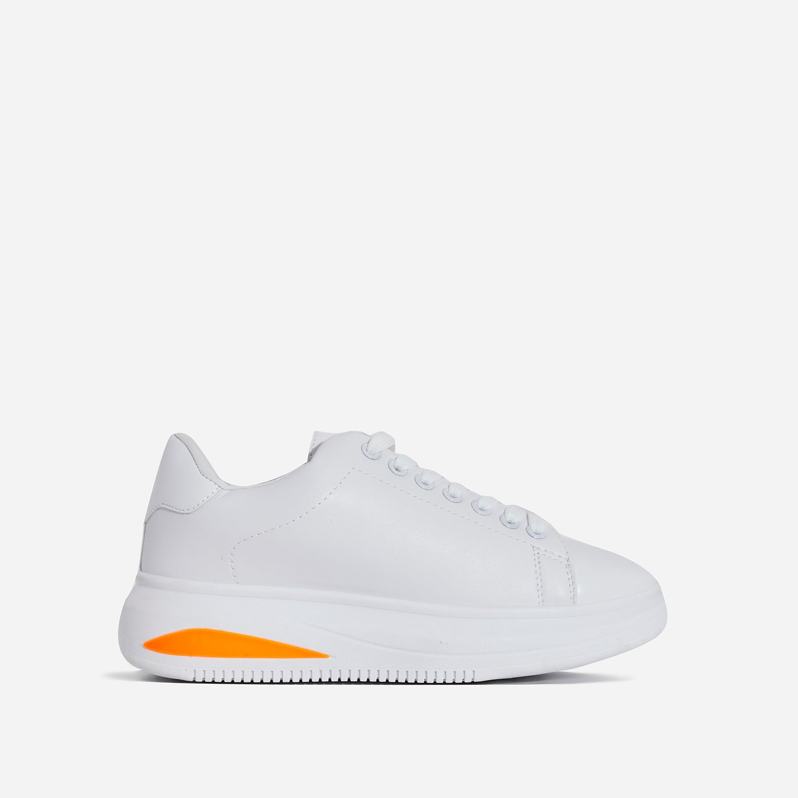 Trinity Neon Orange Detail Chunky Sole Trainer In White Faux Leather