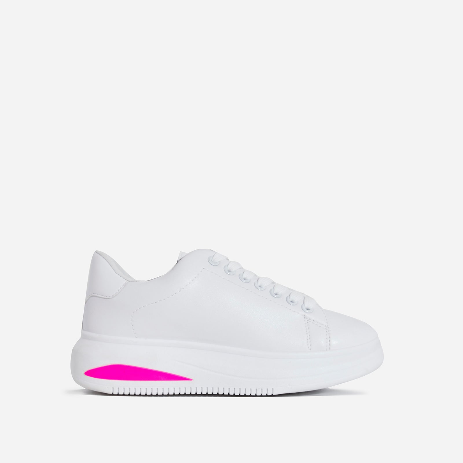 Trinity Neon Pink Detail Chunky Sole Sneaker In White Faux Leather