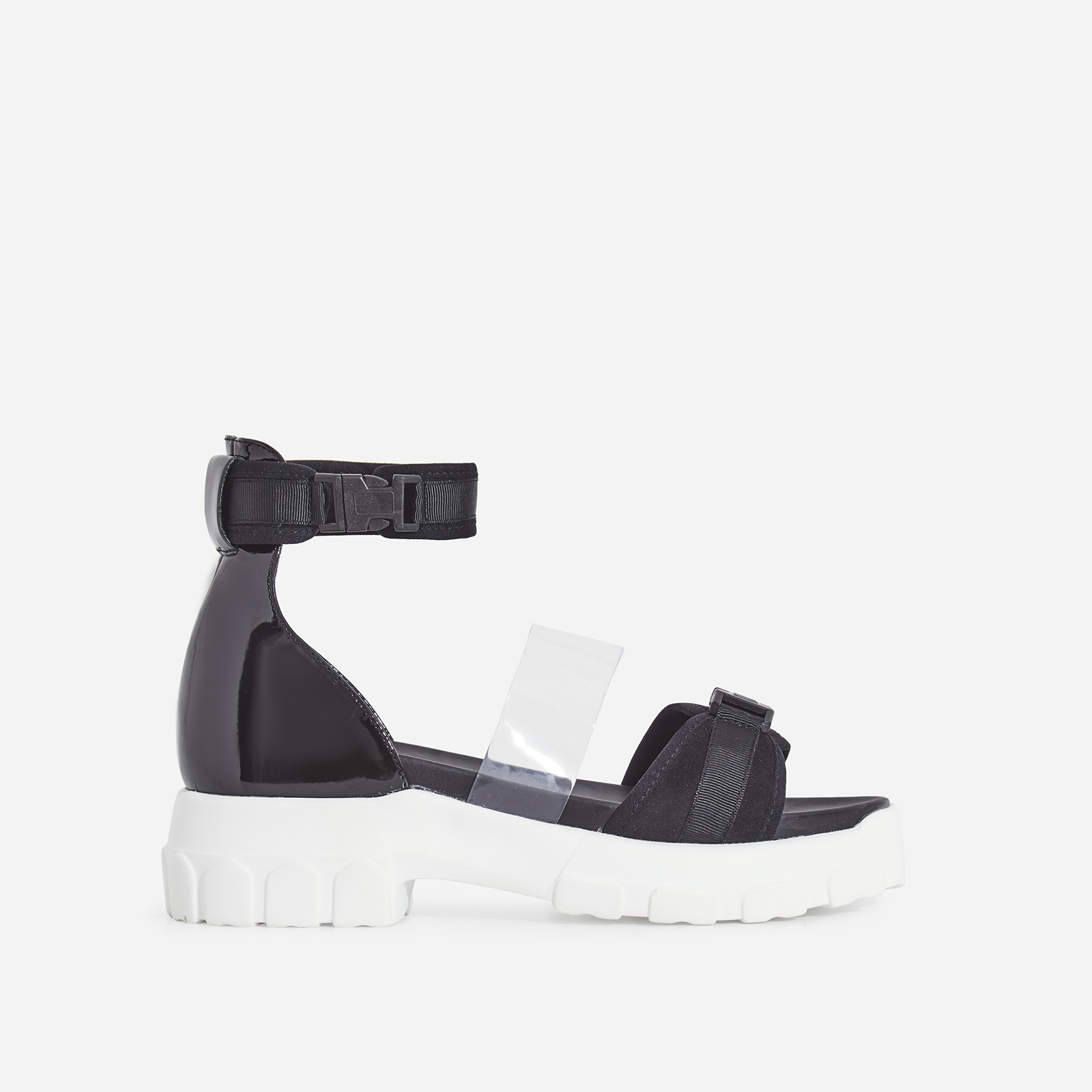 Delle Perspex Chunky Sole Sandal In Black Patent