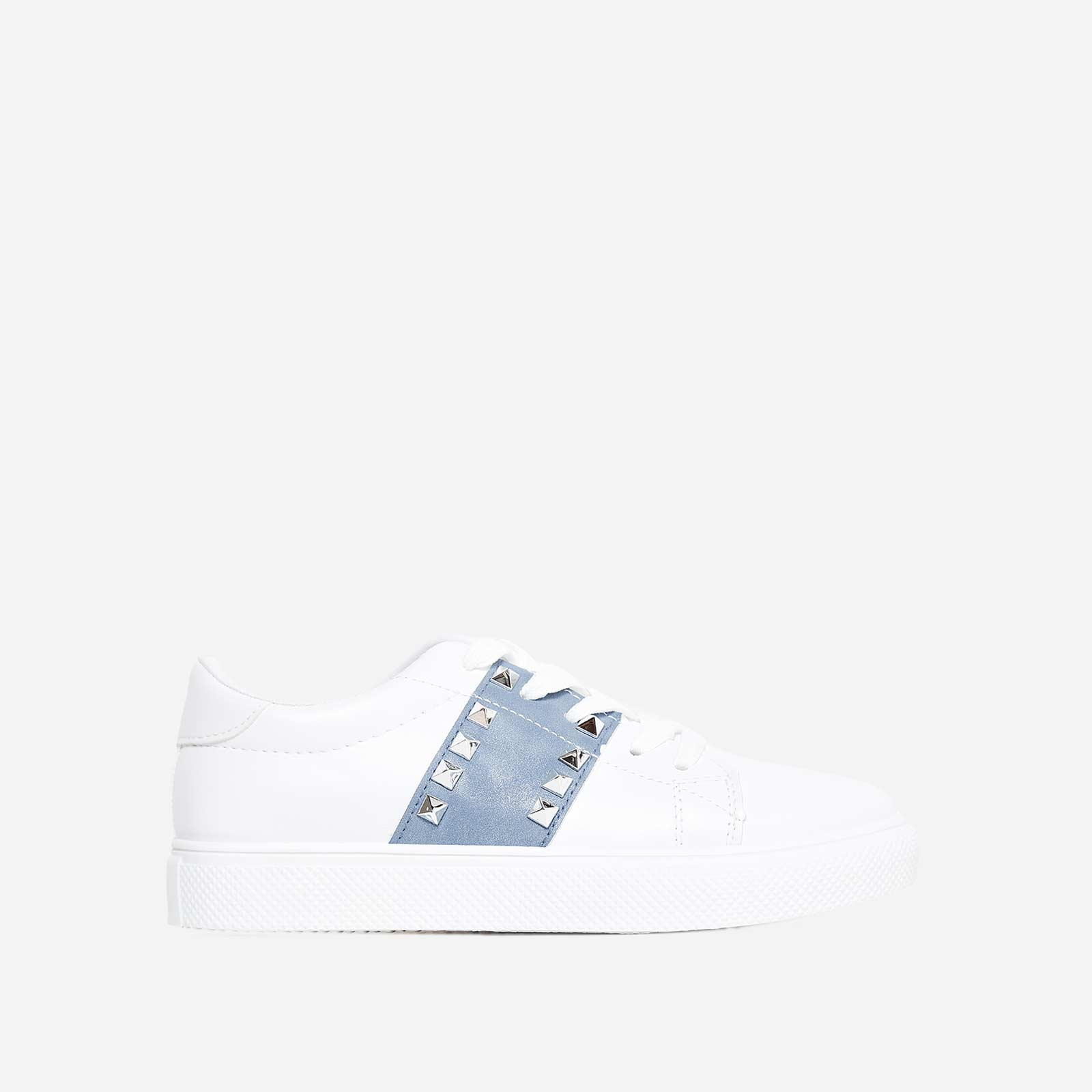Dexter Studded Detail Blue Stripe Trainer In White Faux Leather