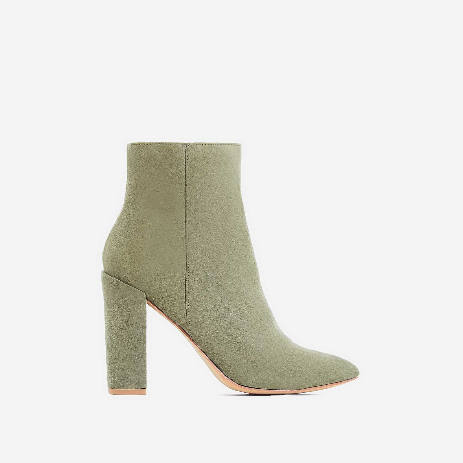 Diana Block Heel Ankle Boot In Khaki Faux Suede