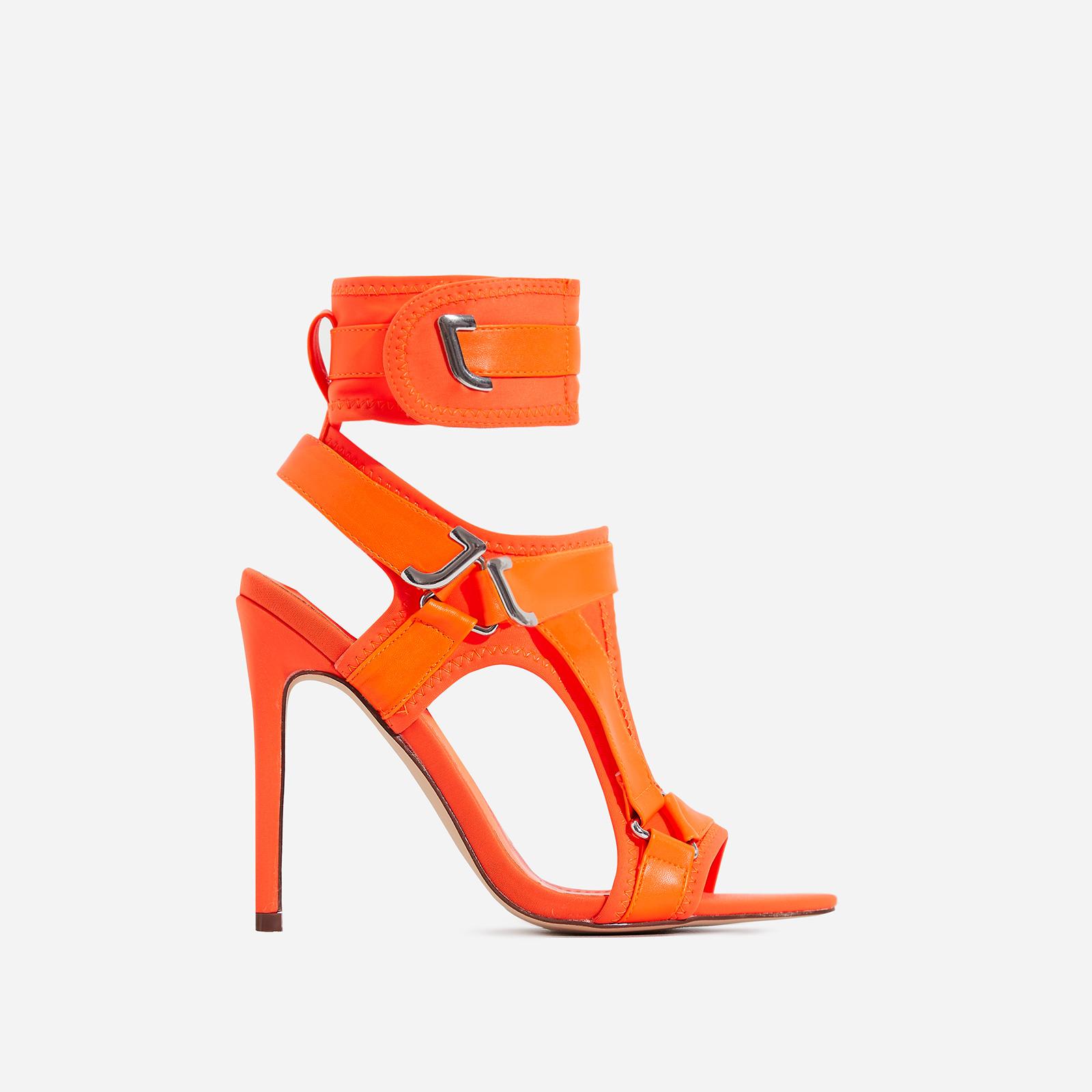 Dive-In Pointed Cage Heel In Orange Lycra