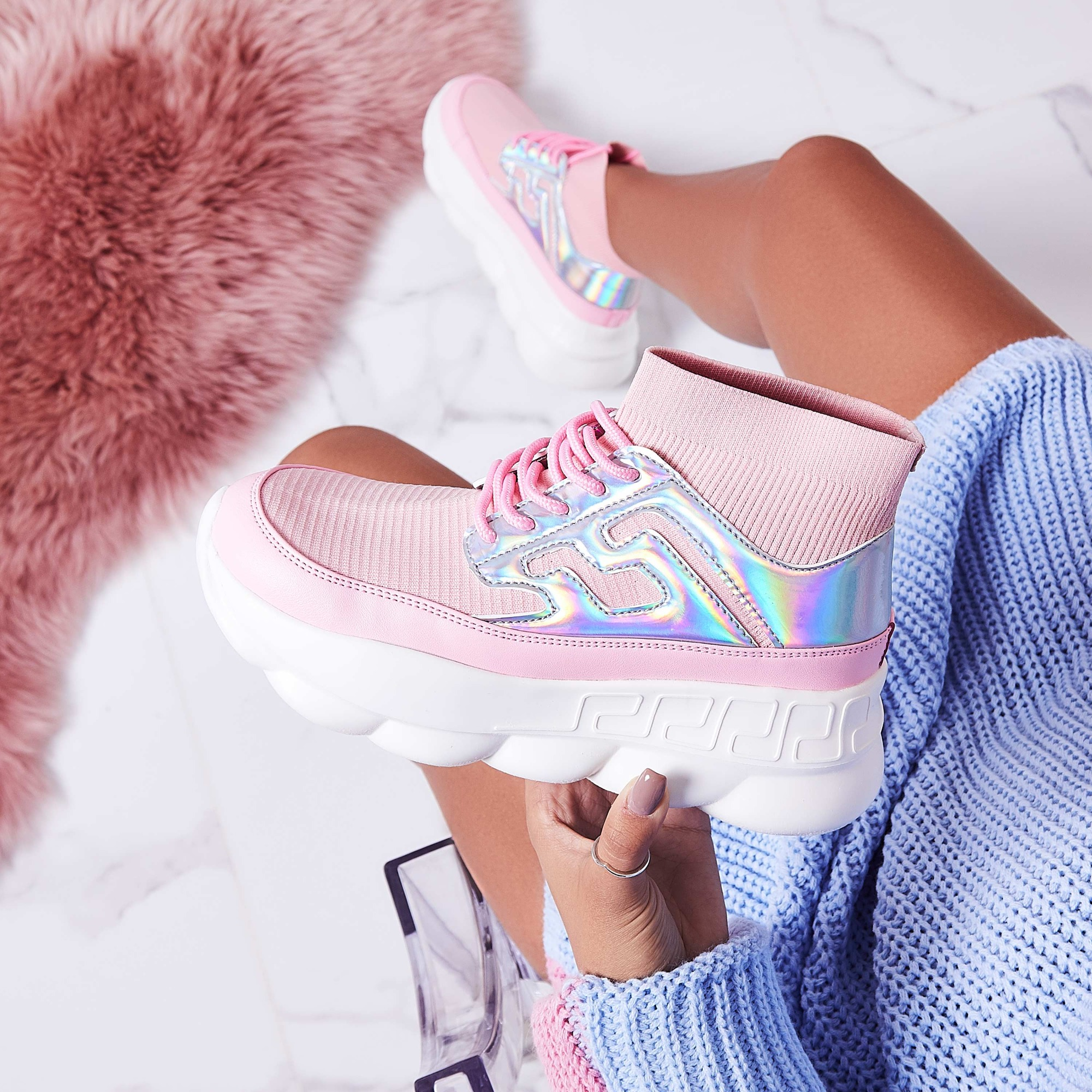 Music Chunky Sole Sock Trainer In Pink Knit