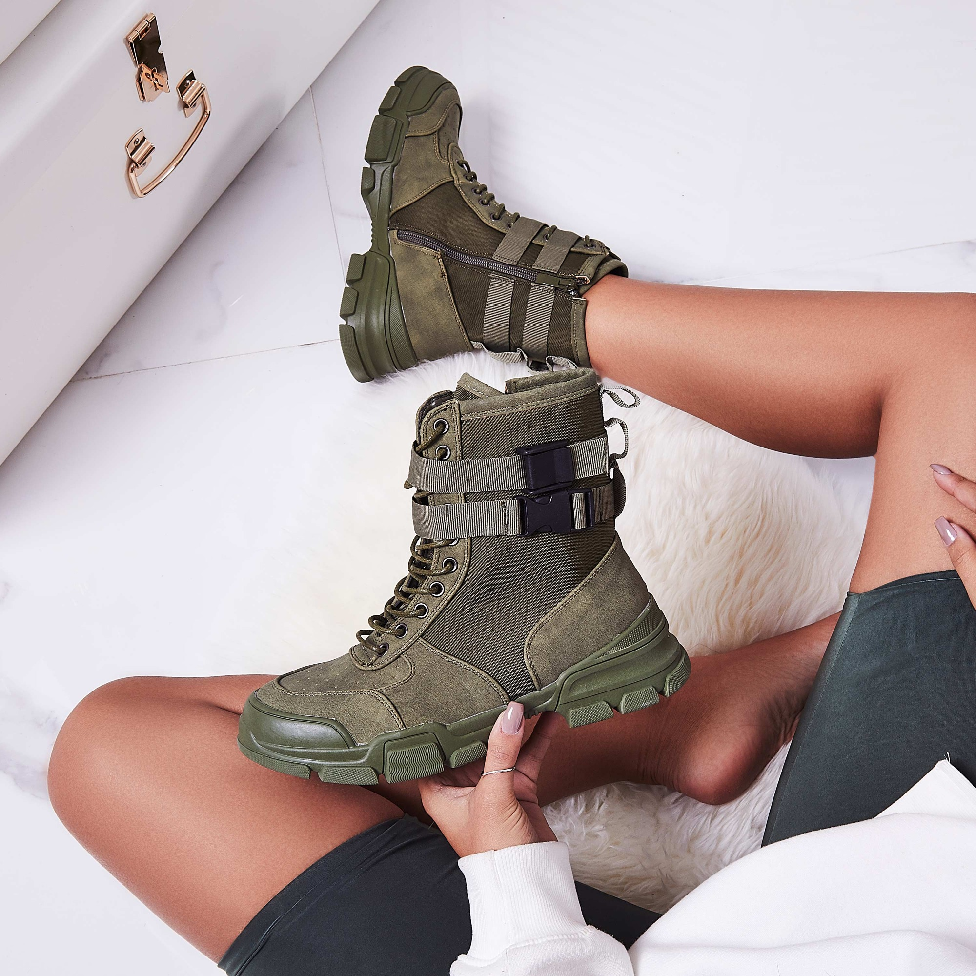 Utility Strap Detail Lace Up Ankle Boot In Khaki Faux Suede