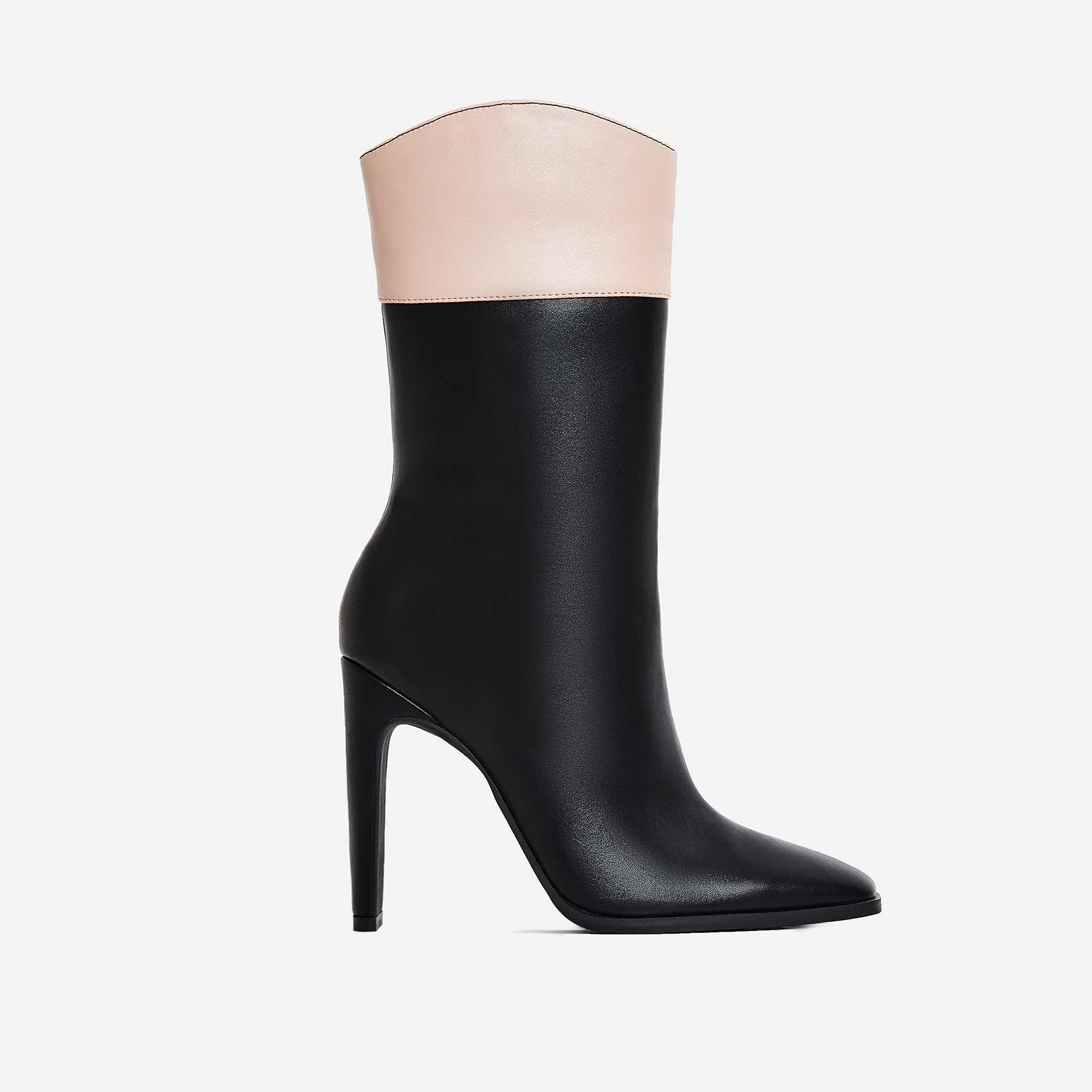 Dolce Flat Heel Ankle Boot In Nude And Black Faux Leather