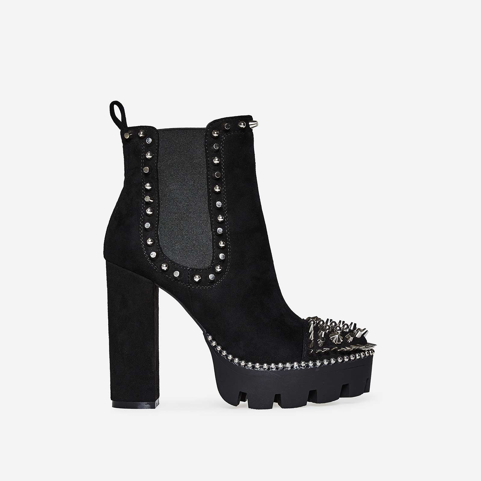 Domino Silver Studded Detail Platform Biker Boot In Black Faux Suede