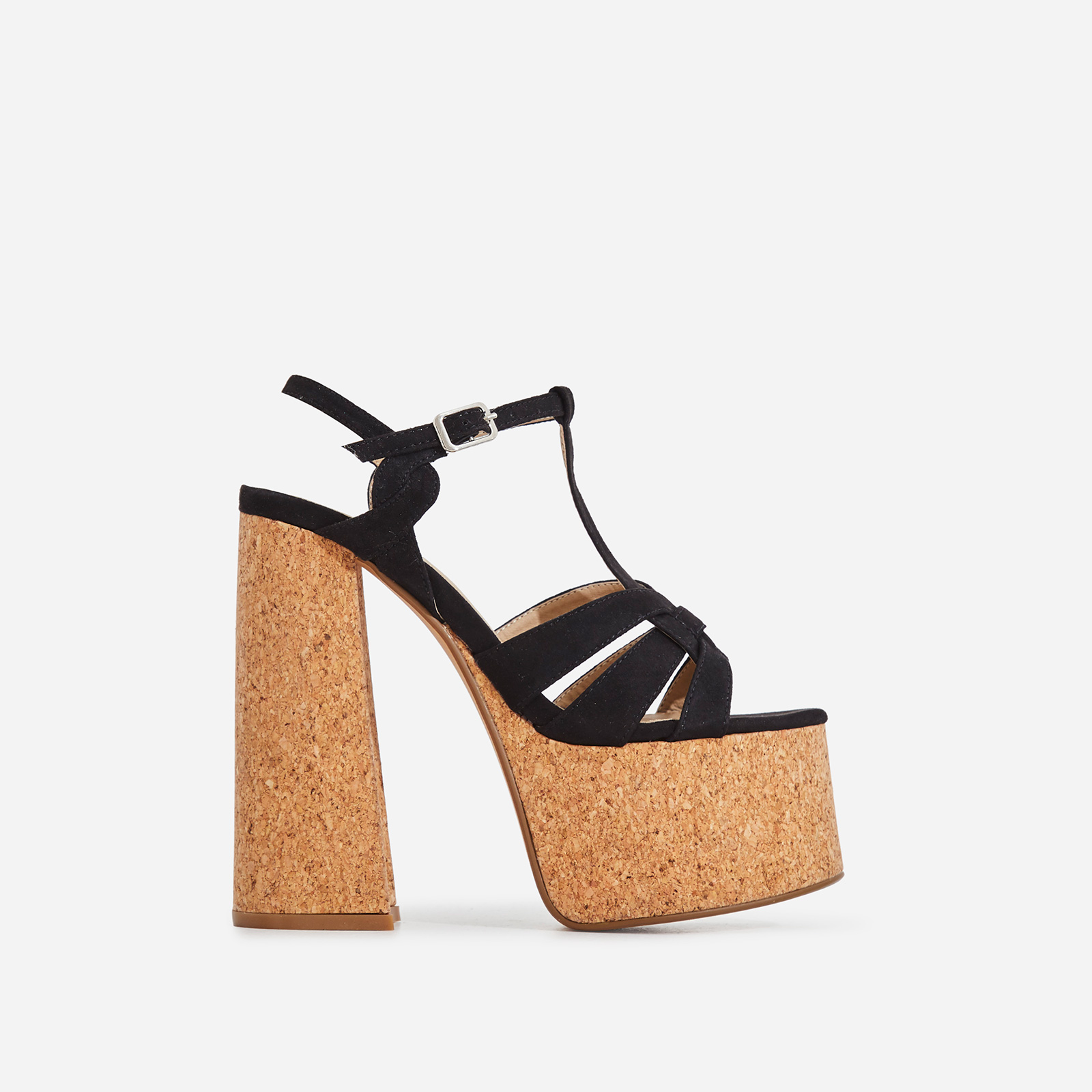 Dora Cork Platform Flared Block Heel In Black Faux Suede
