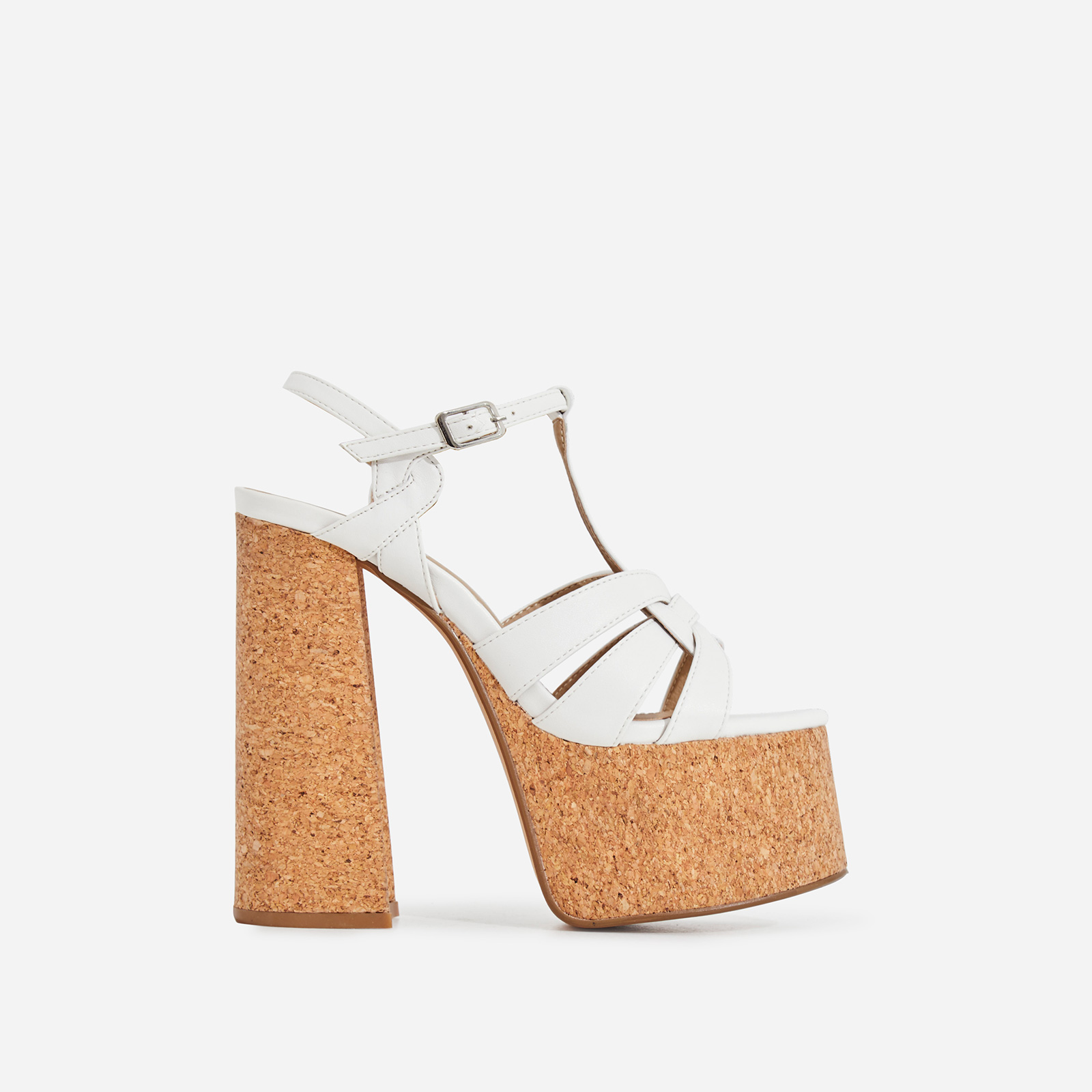 Dora Cork Platform Flared Block Heel In White Faux Leather