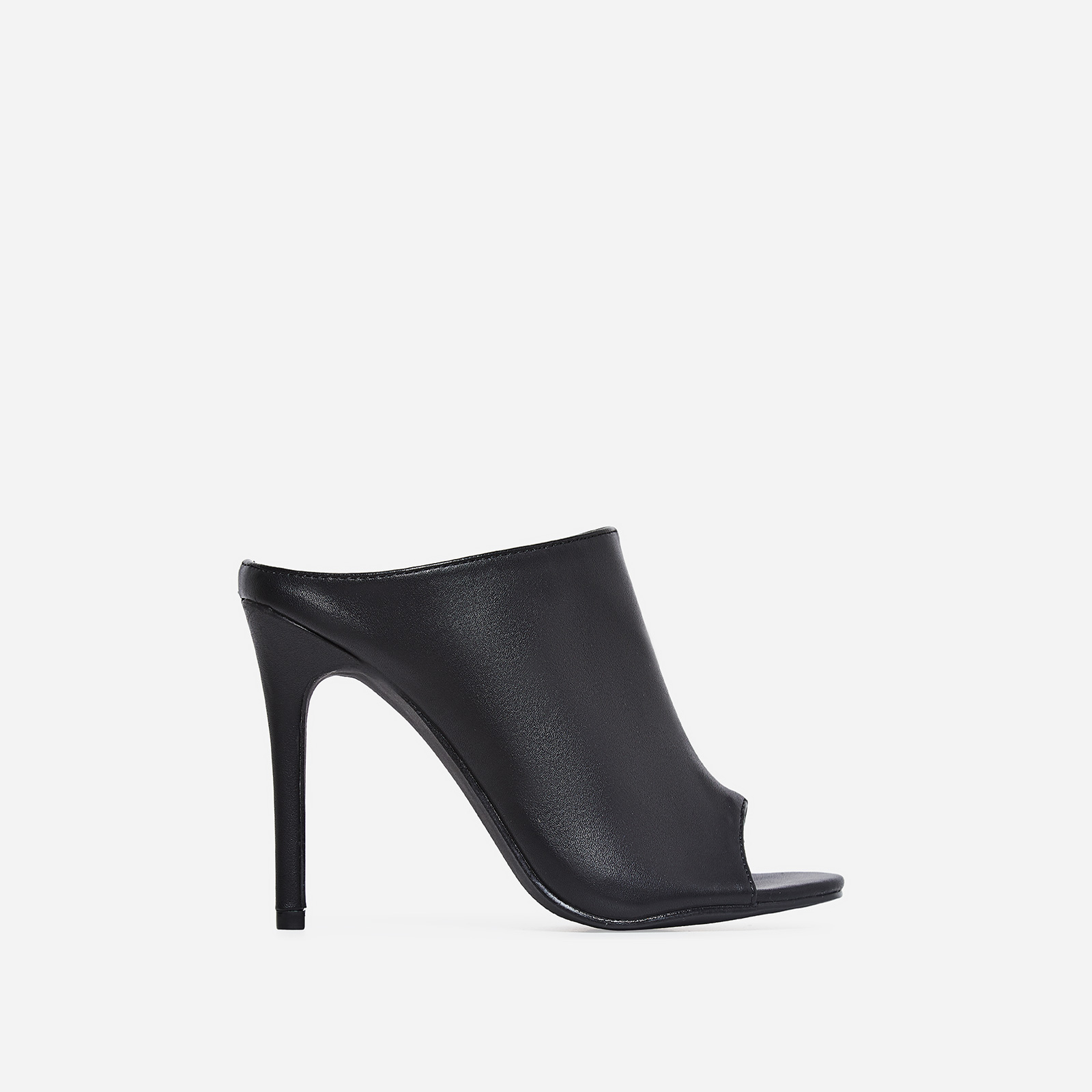 Downtown Peep Toe Mule In Black Faux Leather