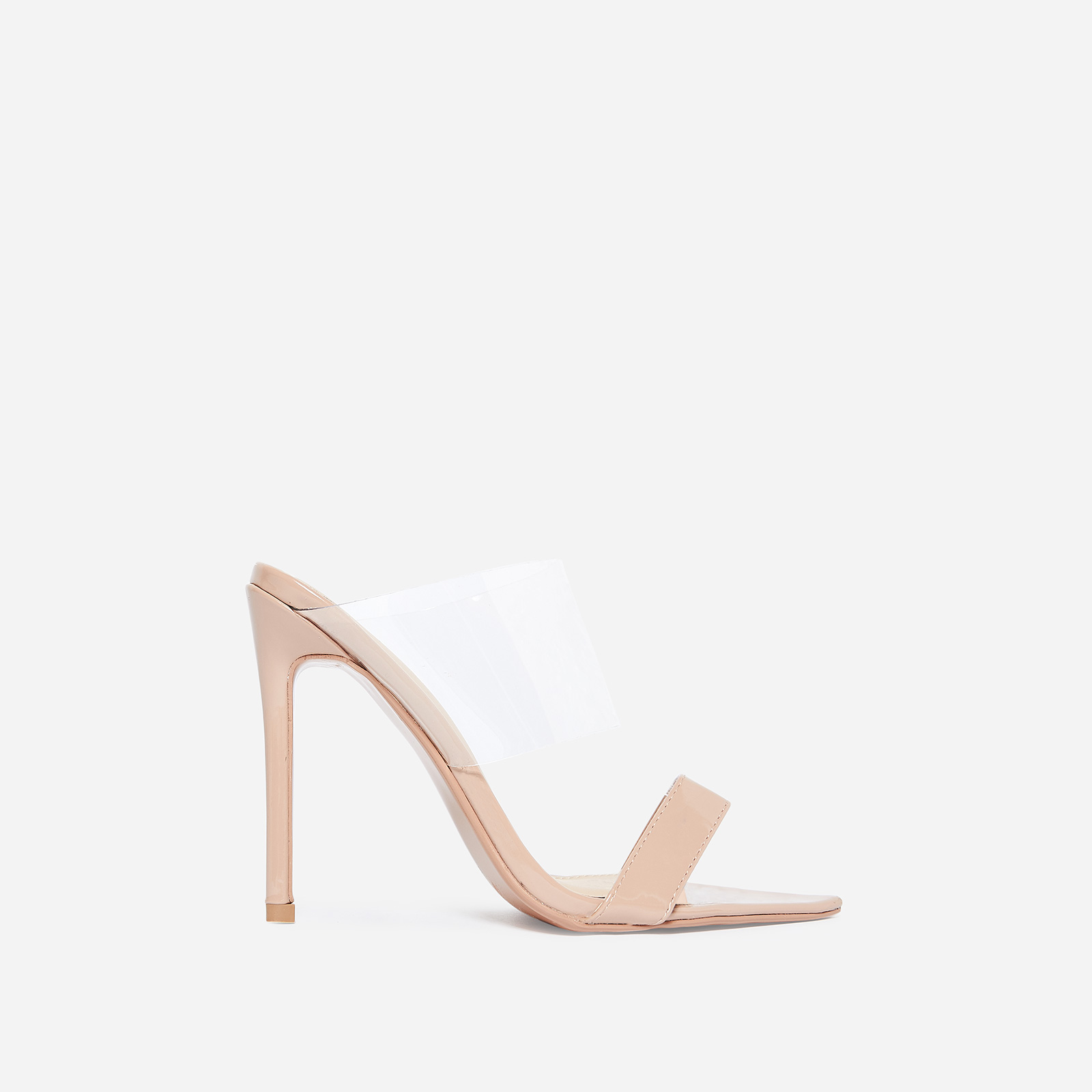 Dream Pointed Perspex Mule In Nude Patent