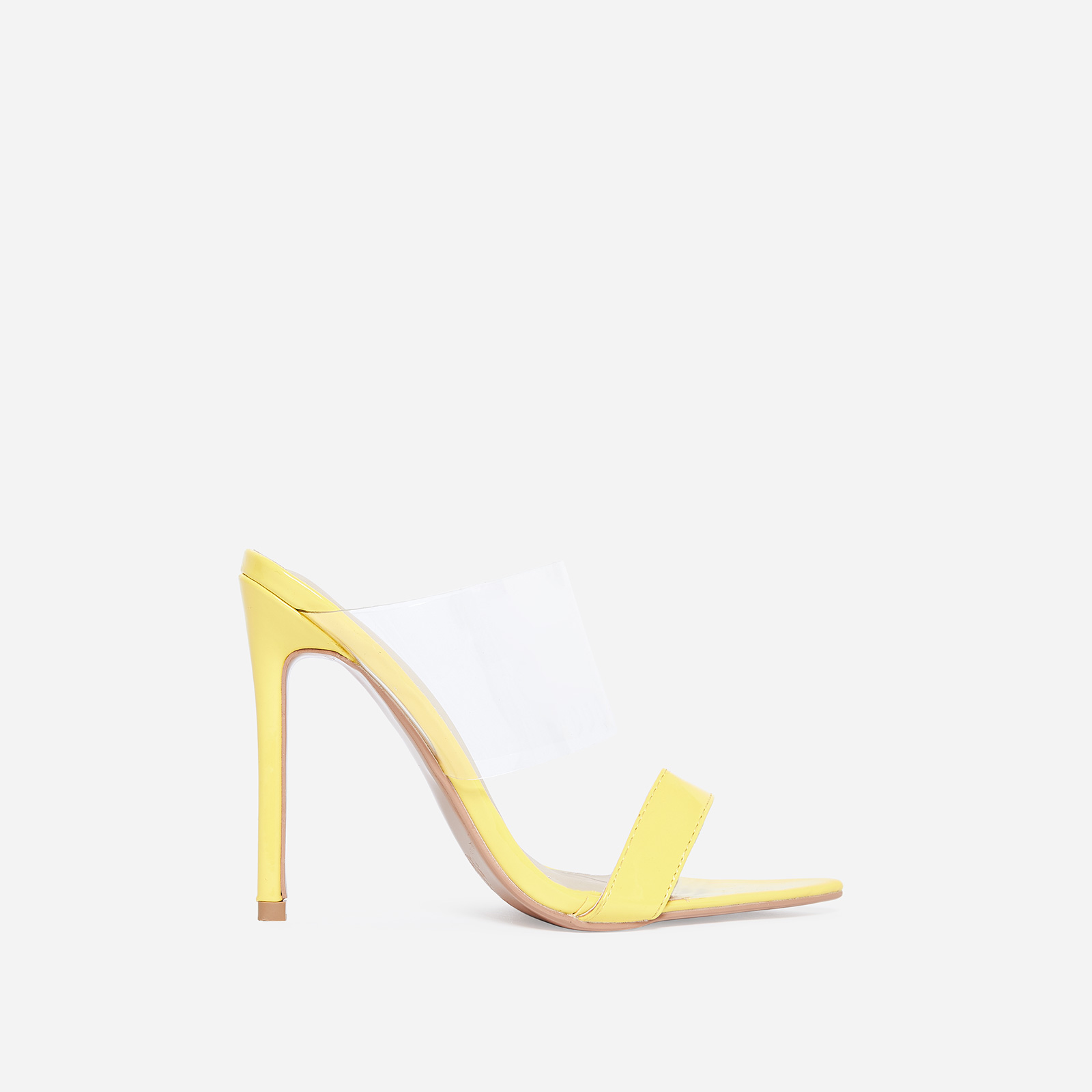 Dream Pointed Perspex Mule In Yellow Patent