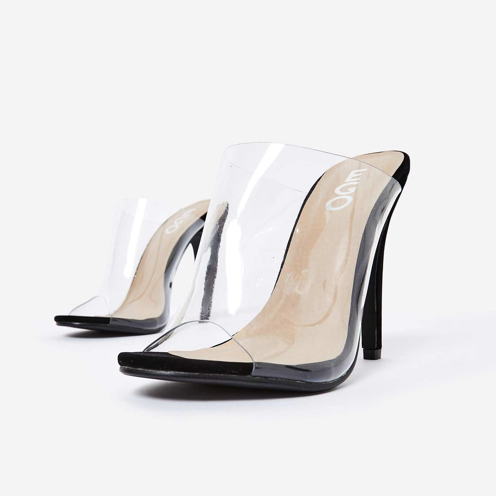 Elegant Perspex Peep Toe Mule In Black Faux Suede