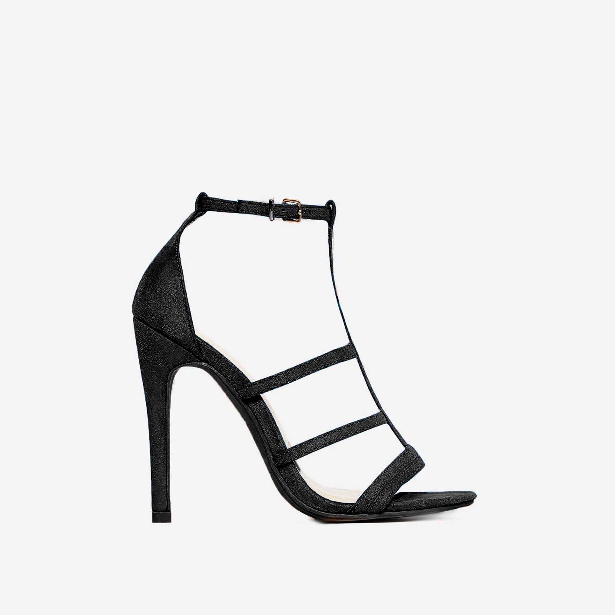 Izabel Caged Heel In Black Faux Suede