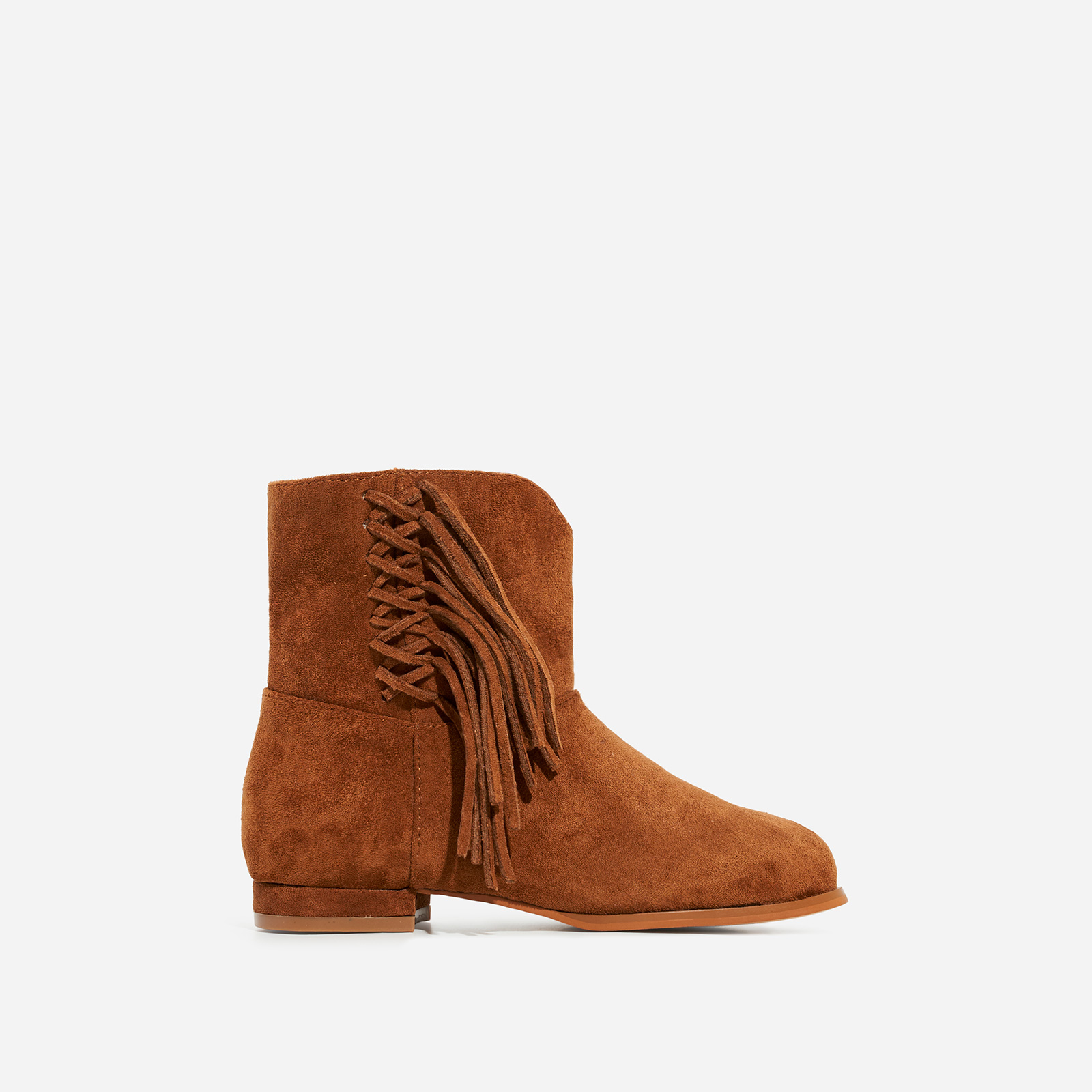 Sweetheart Girl's Tassel Detail Ankle Western Boot I Tan Faux Suede