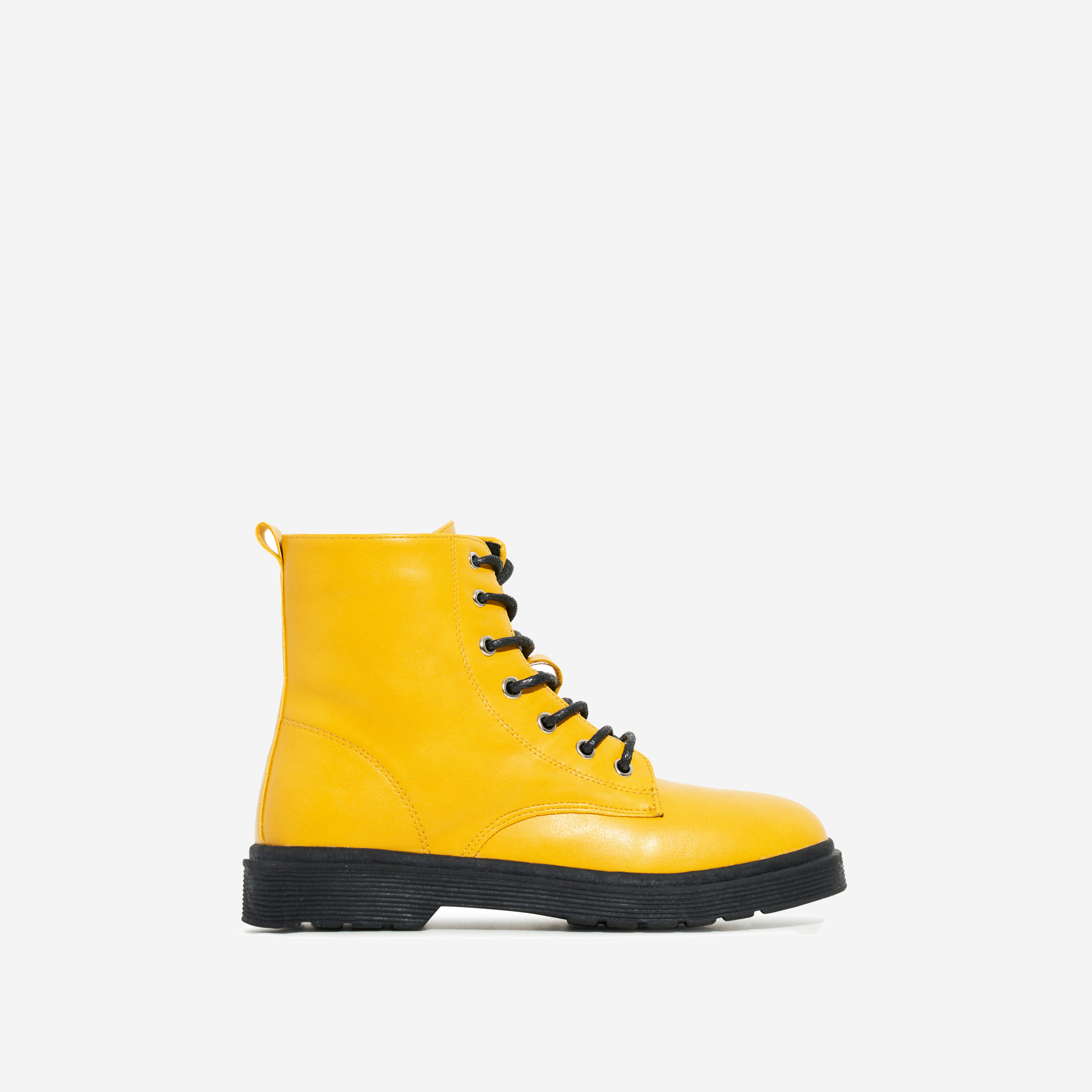 Poppin Girl's Lace Up Ankle Biker Boot In Yellow Faux Leather