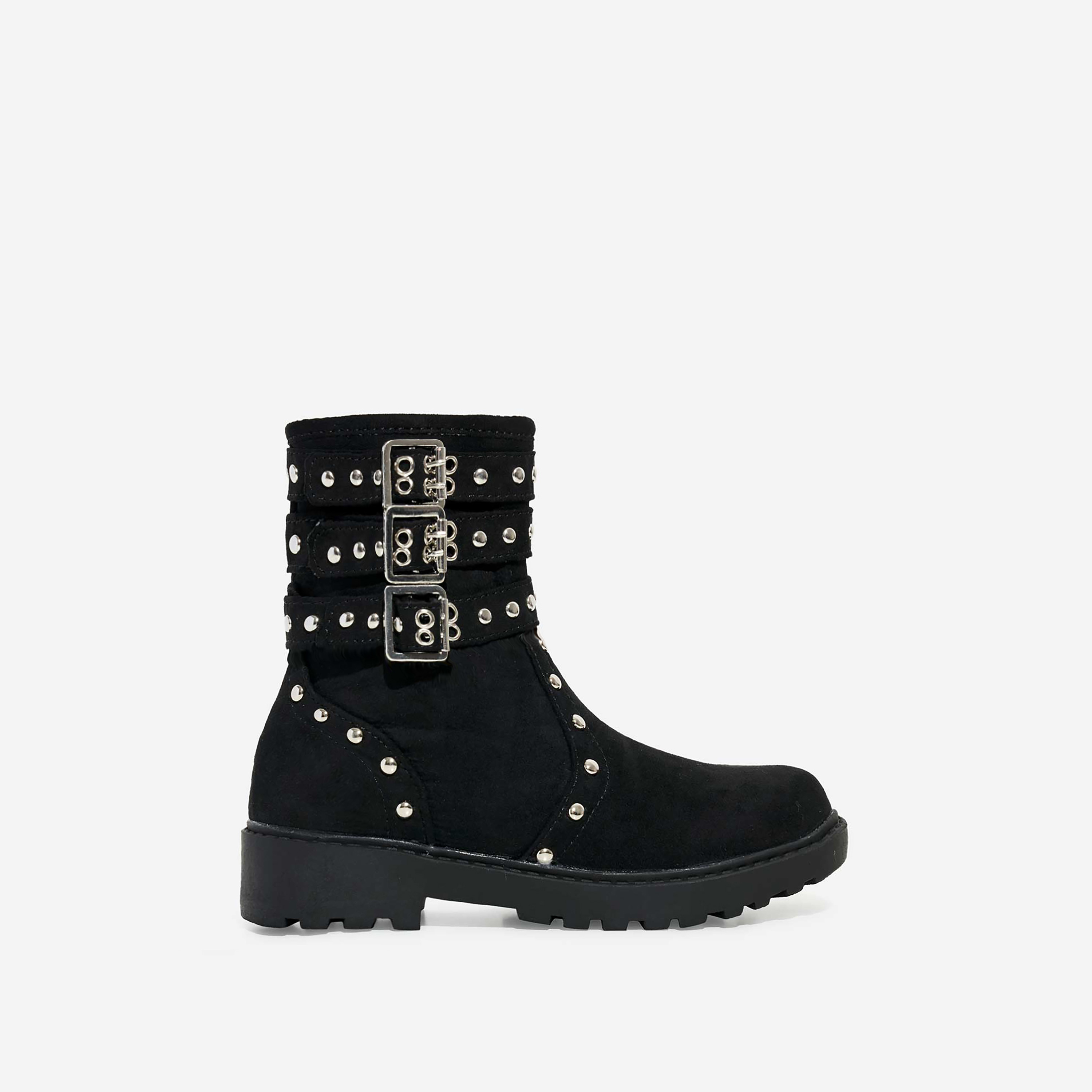 Blossom Girl's Studded Detail Ankle Biker Boots In Black Faux Suede