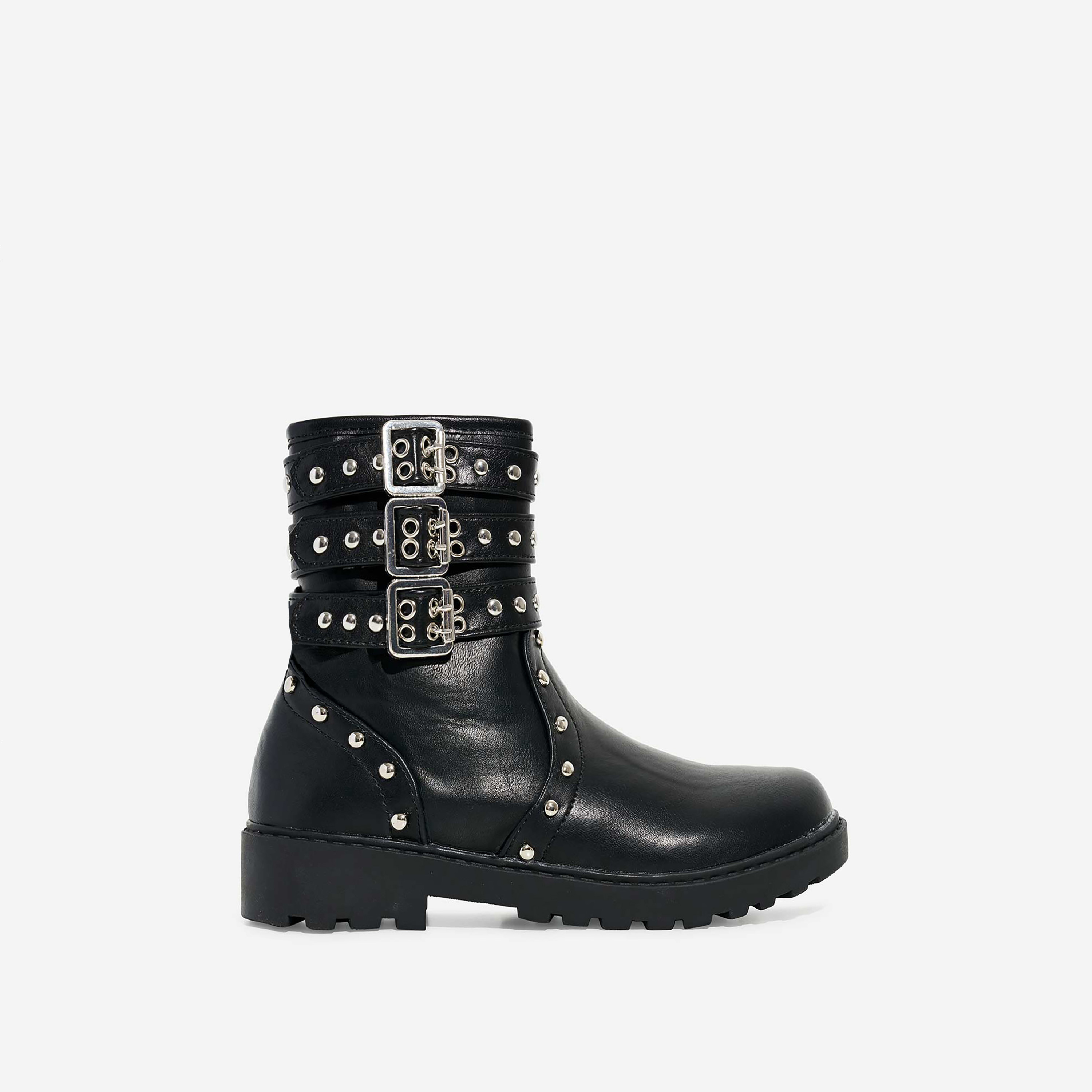 Blossom Girl's Studded Detail Ankle Biker Boots In Black Faux Leather