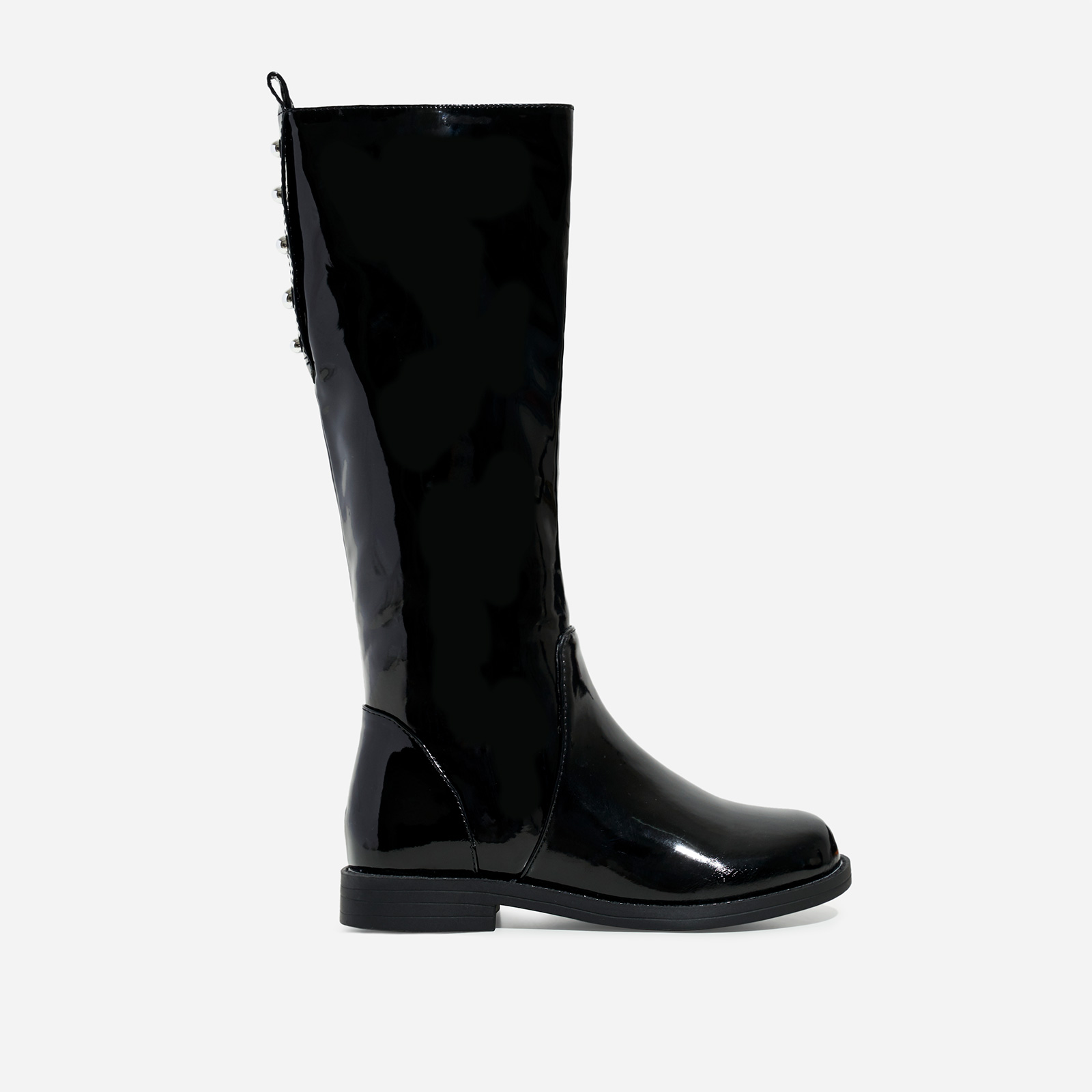 Sunshine Girl's Studded Detail Knee High Long Boot In Black Patent