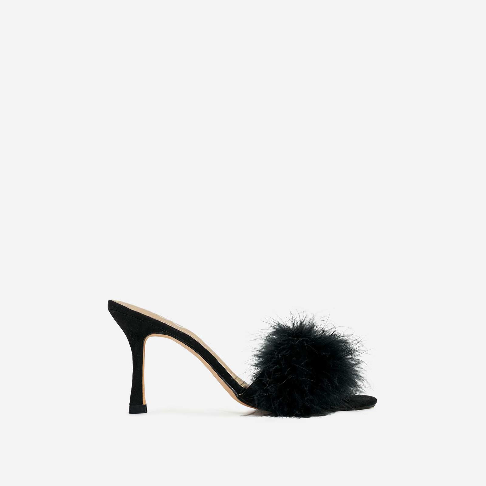 Fairydust Faux Feather Peep Toe Kitten Heel Mule In Black Faux Suede