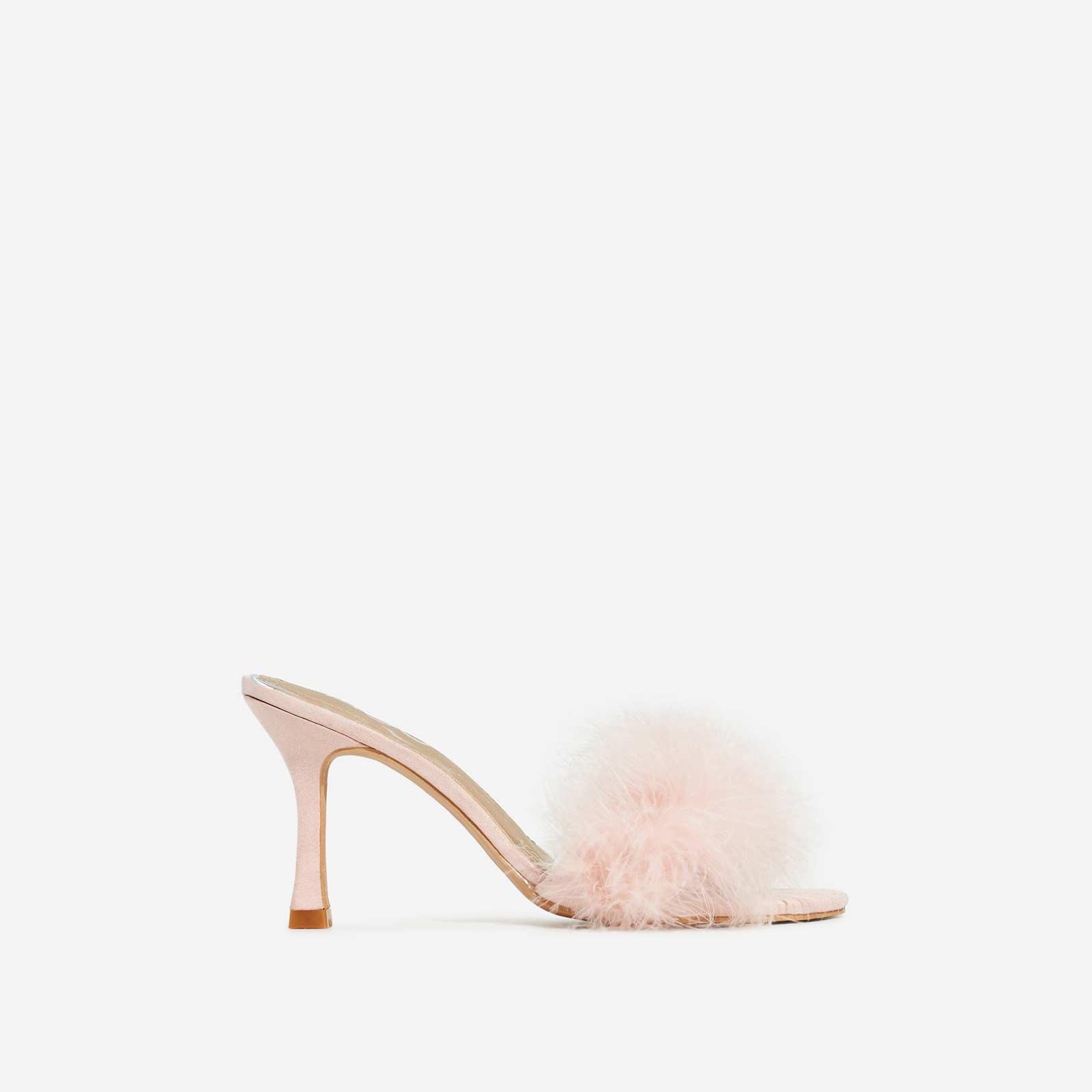 Fairydust Faux Feather Peep Toe Kitten Heel Mule In Pink Faux Suede