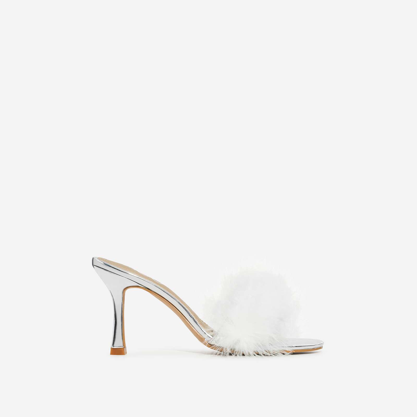 Fairydust Faux Feather Peep Toe Kitten Heel Mule In Silver Patent