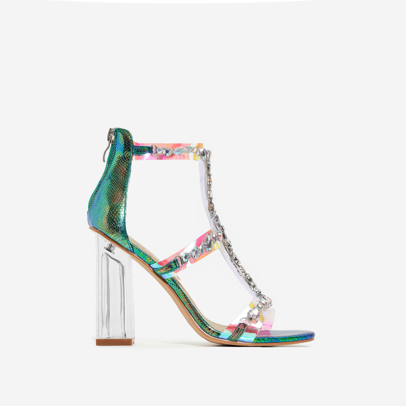 Merryme Jewel Embellished Perspex Block Heel In Green Holographic Snake Print Faux Leather