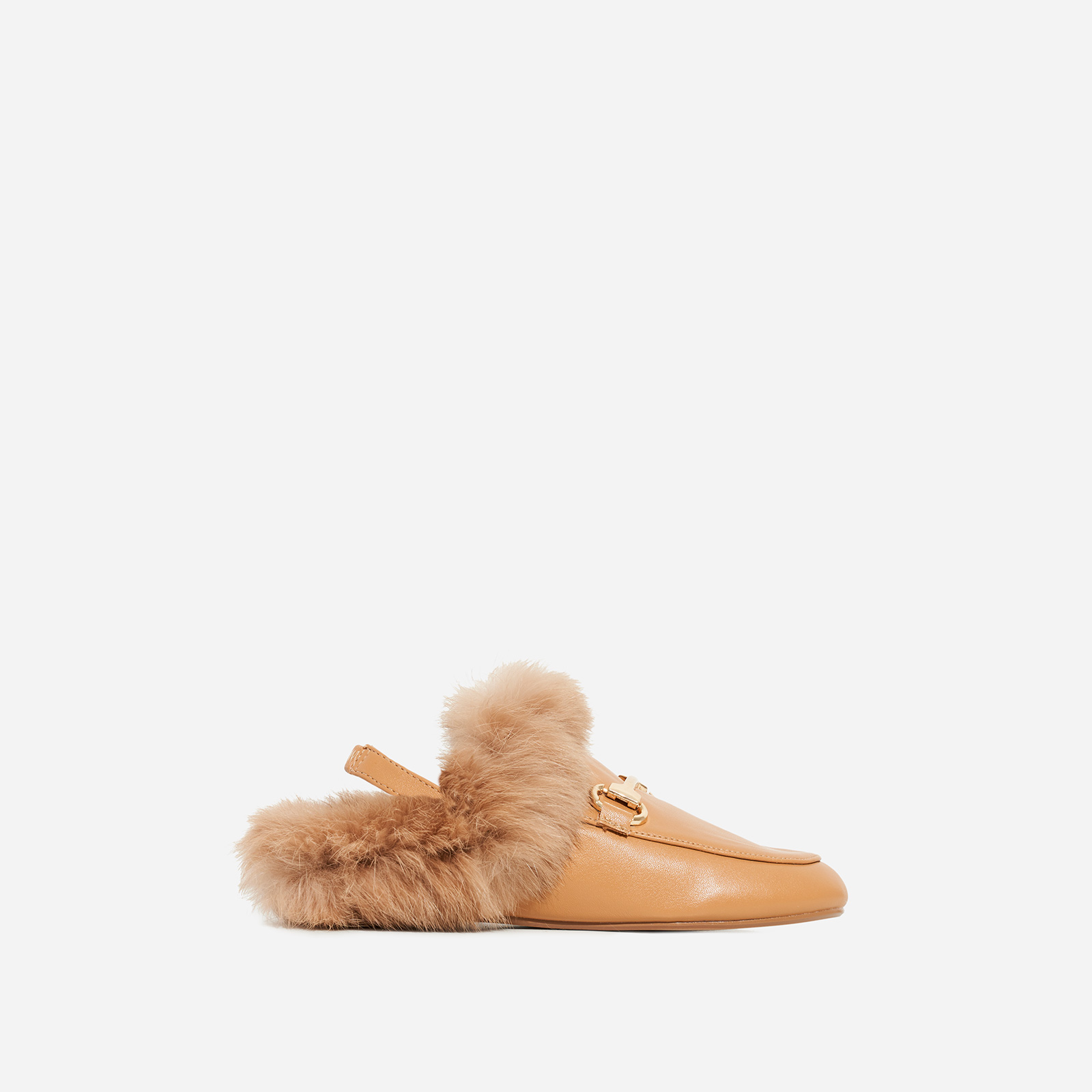 Rio Girl's Sling Back Fluffy Flat Mule In Tan Faux Leather