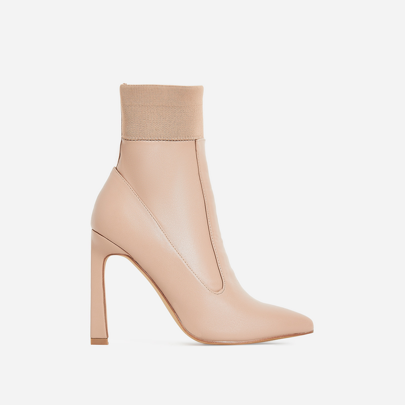 Elaina Flared Stiletto Heel Ankle Sock Boot In Nude Faux Leather