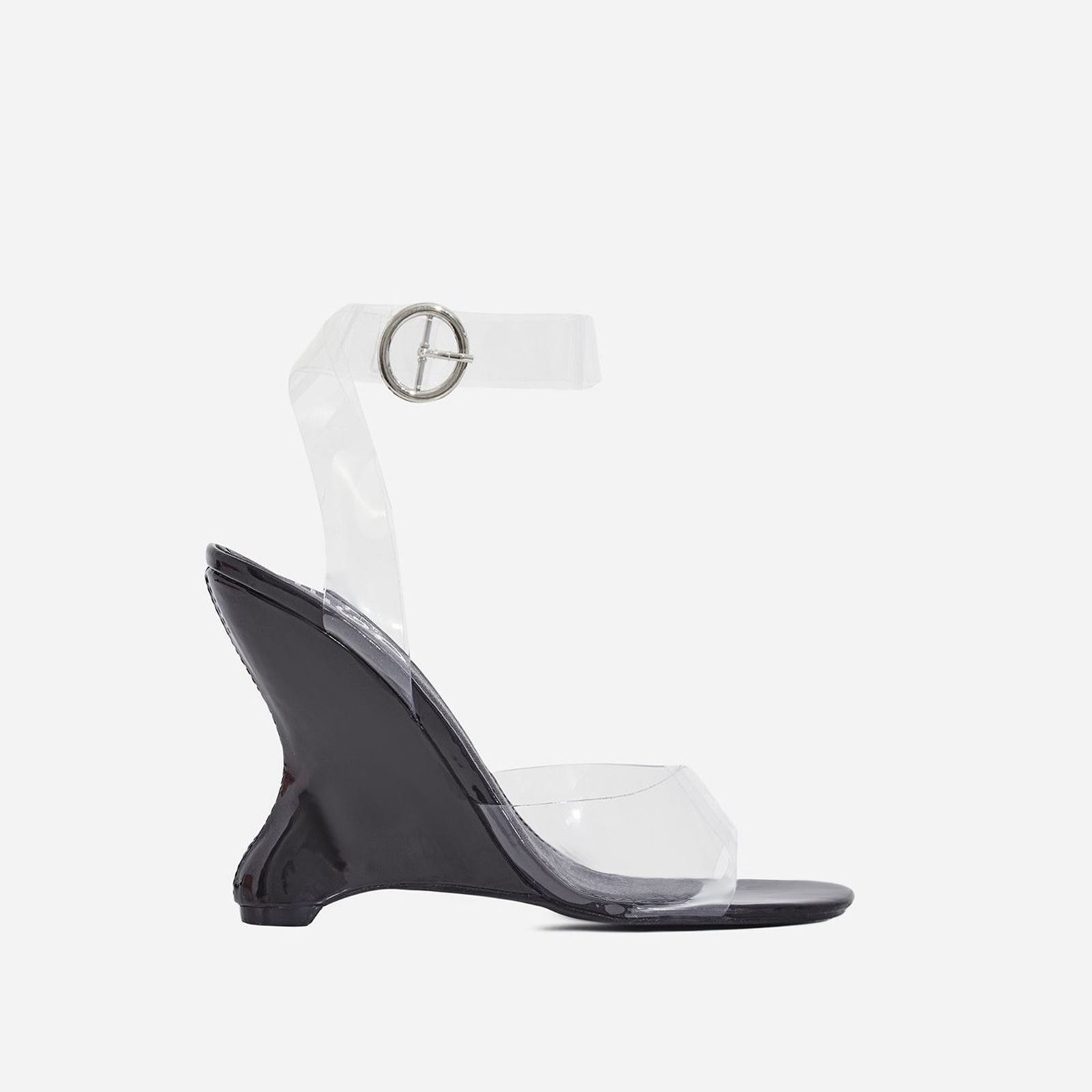 Eli Perspex Wedge Block Heel In Black Patent
