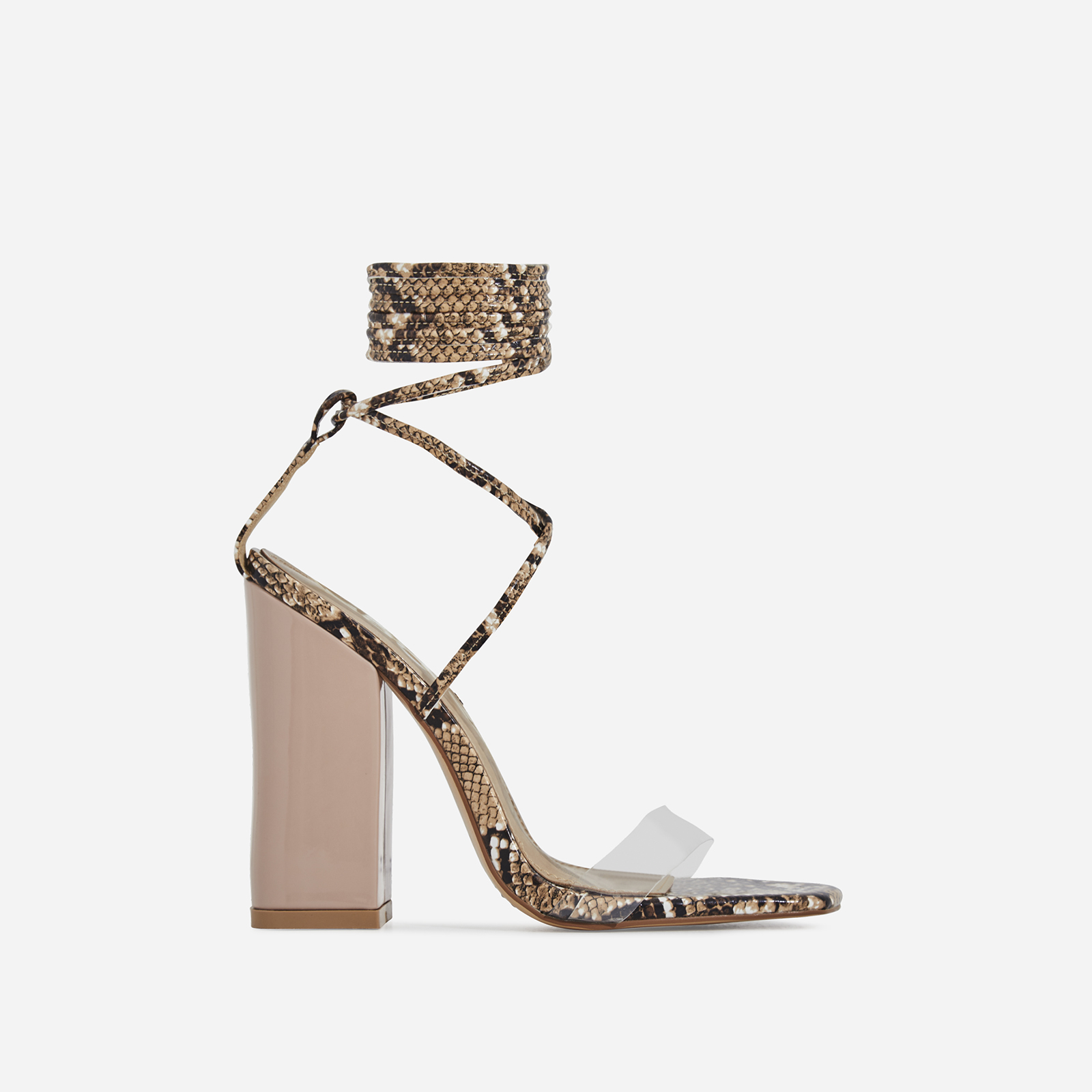 Elini Patent Block Heel Perspex Lace Up Heel In Nude Snake Print Faux Leather