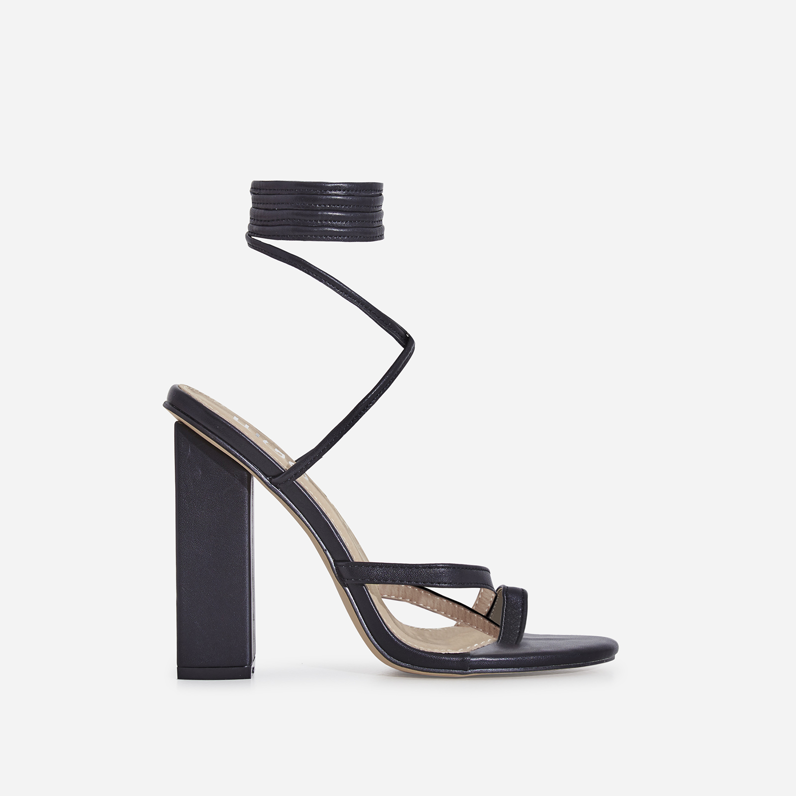 Elsa Lace Up Toe Strap Block Heel In Black Faux Leather