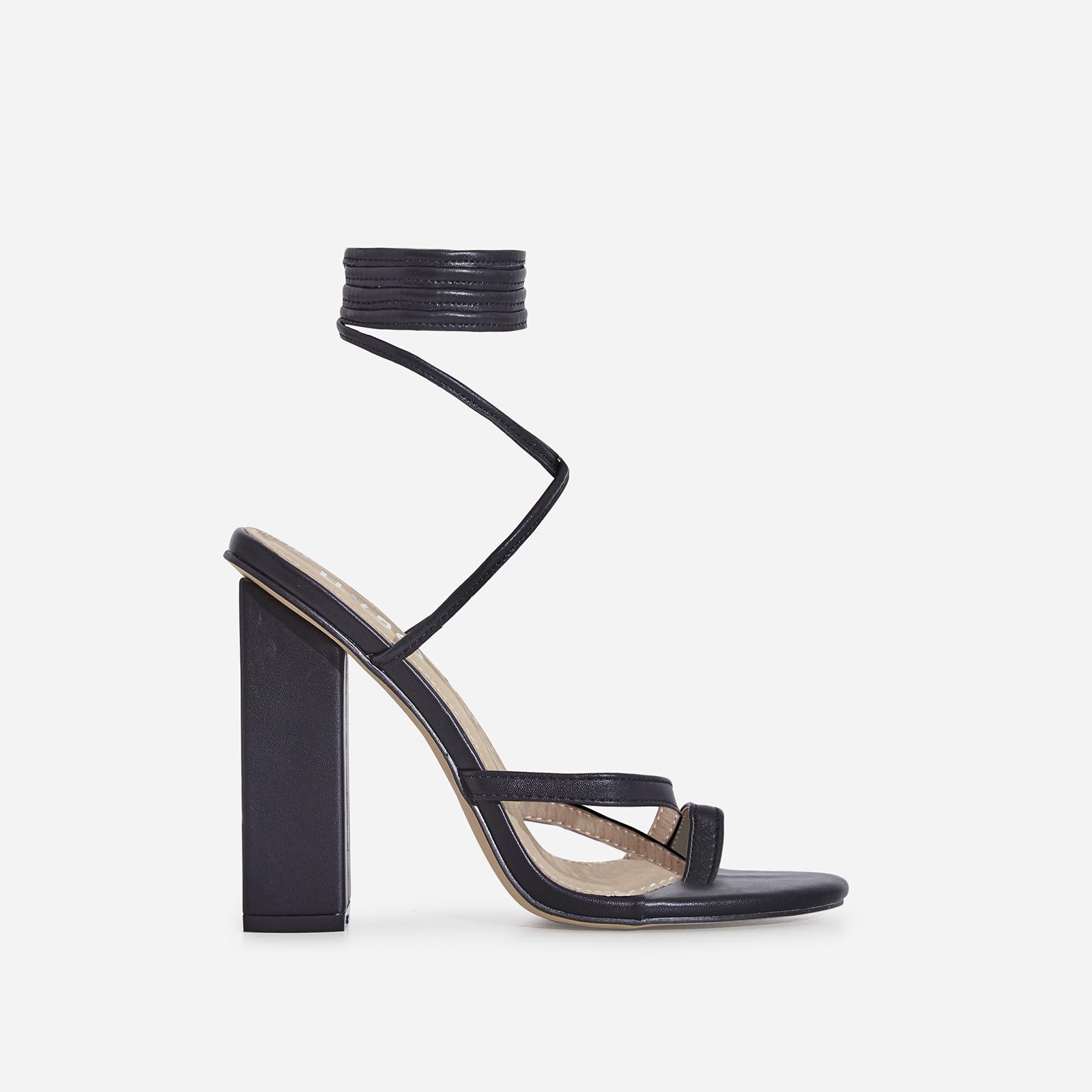 Elsa Lace Up Toe Strap Block Heel In Black Faux Leather