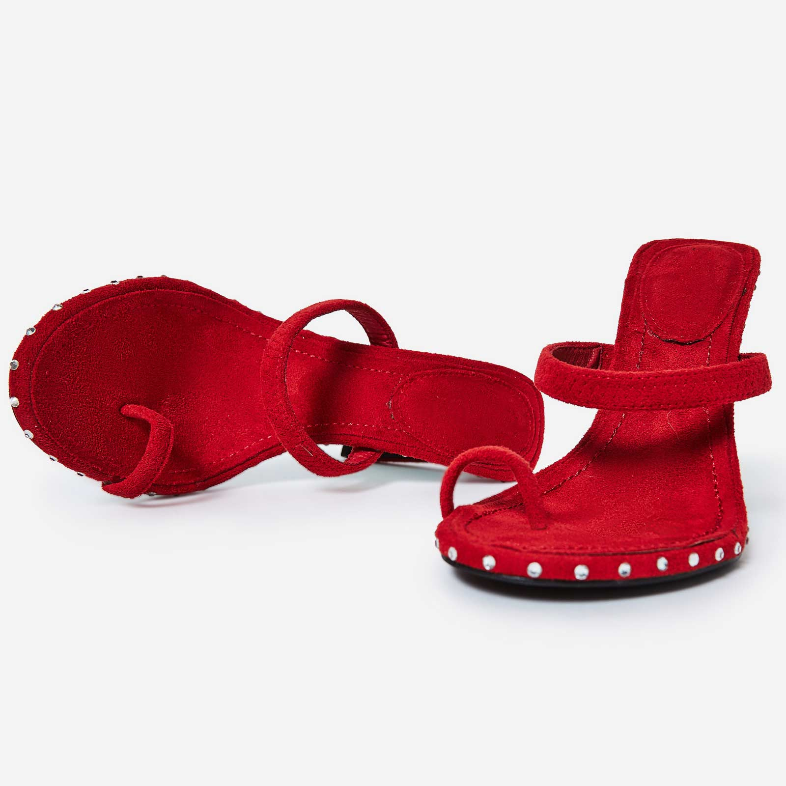 Envy Diamante Detail Toe Strap Mule In Red Faux Suede