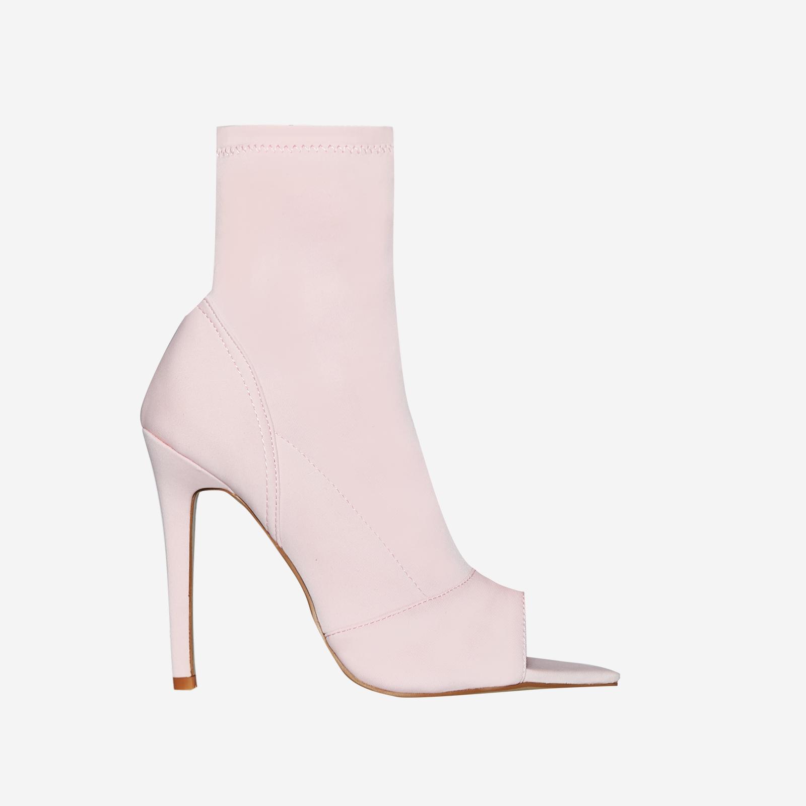 Esme Pointed Peep Toe Sock Boot In Pink Lycra