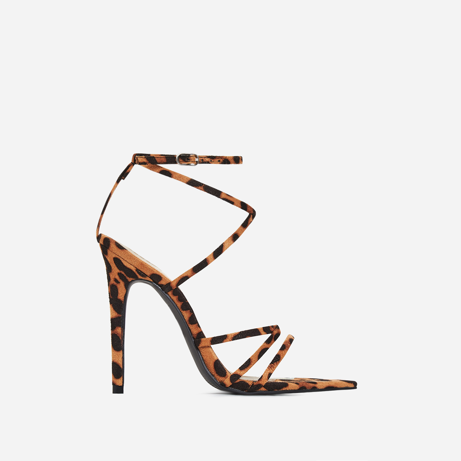 Este Pointed Barely There Heel In Tan Leopard Print Faux Suede